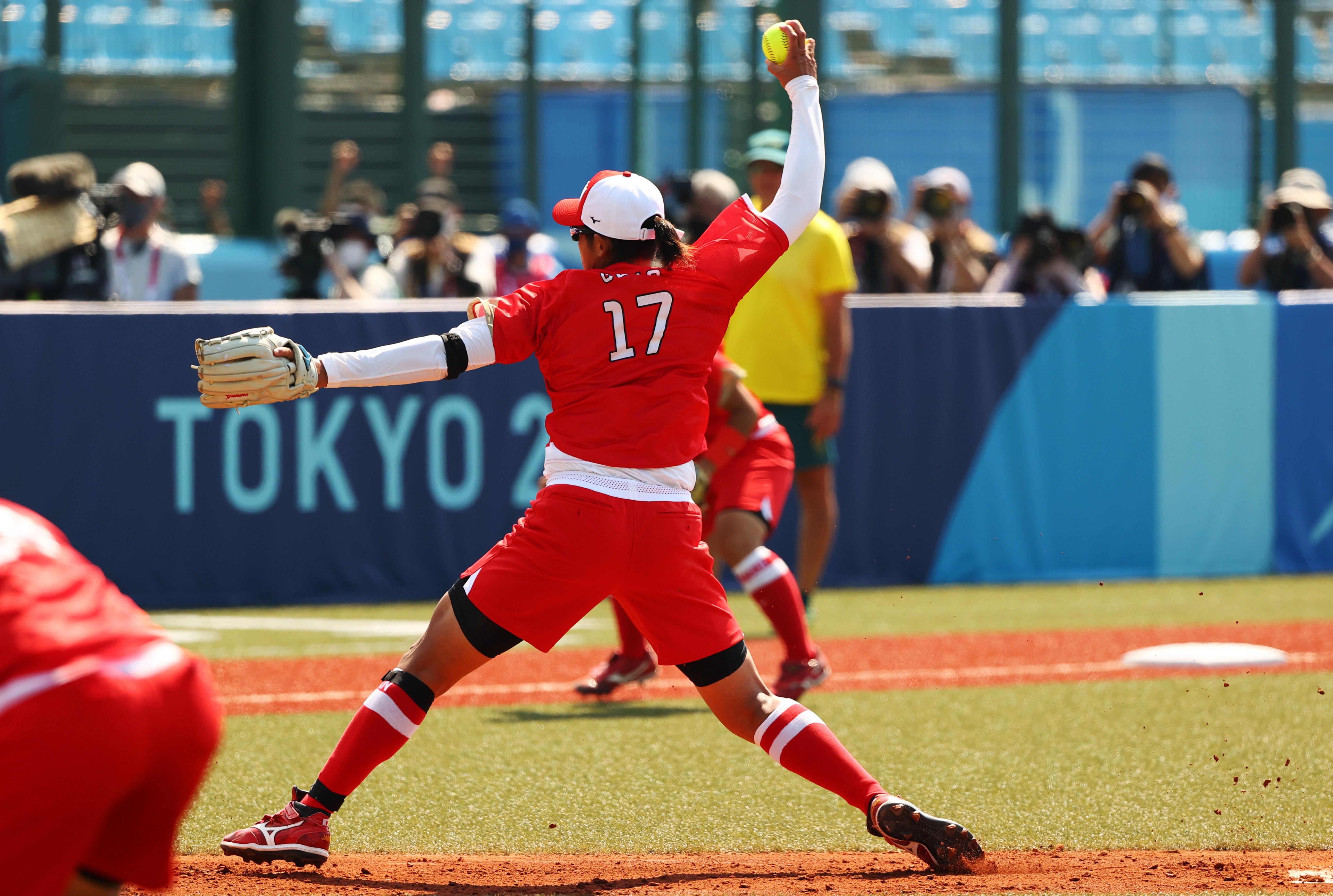 Tokyo 2020 Olympics - Softball - Women - Opening Round - Australia v Japan - Fukushima Azuma Baseball Stadium - Fukushima, Japan - July 21, 2021. Yukiko Ueno of Japan in action. REUTERS/Jorge Silva