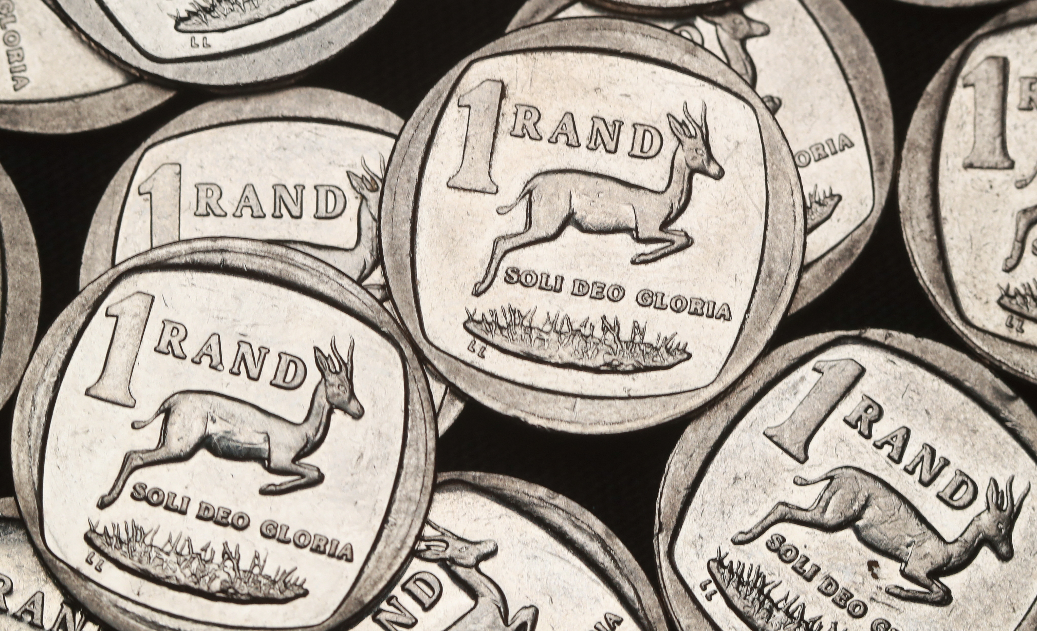 South African Rand coins are seen in this illustration.   REUTERS/Mike Hutchings