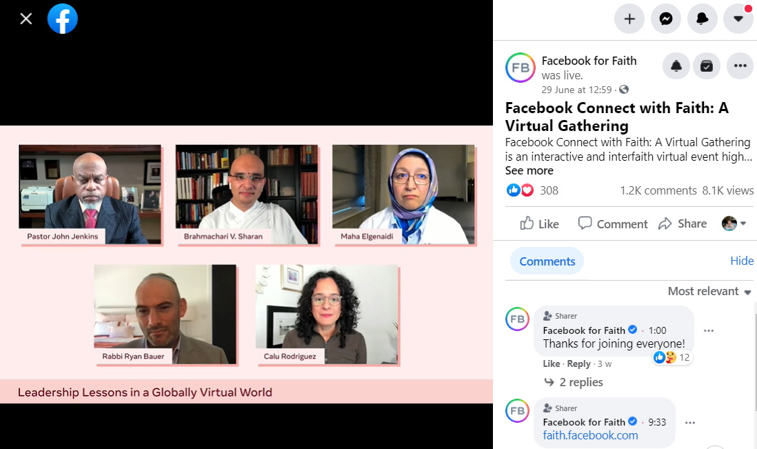 Video from Facebook's virtual faith gathering with religious leaders on June 29, 2021, is seen in this screenshot taken in New York City, U.S., July 21, 2021. Handout via REUTERS