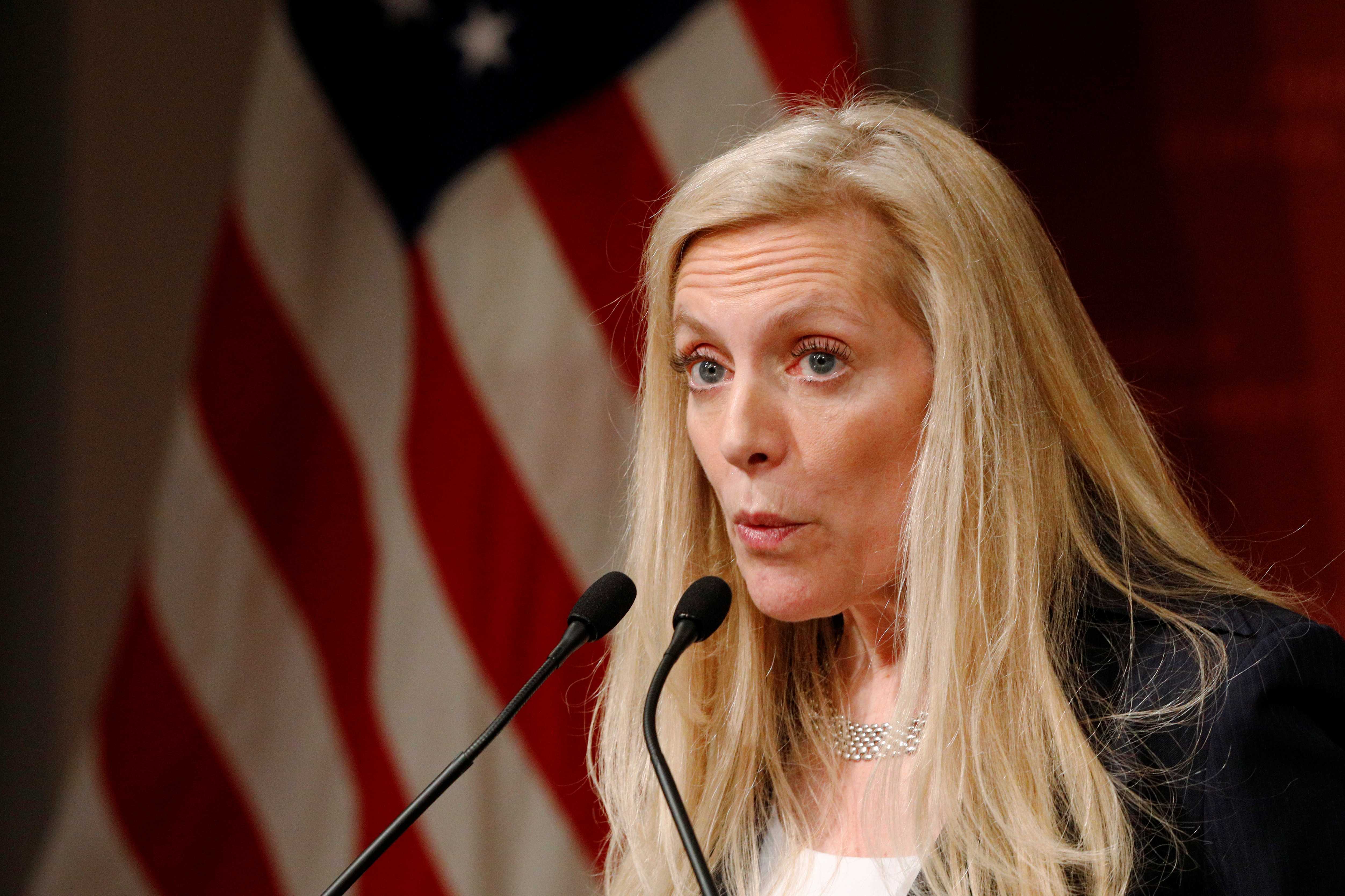 Federal Reserve Board Governor Lael Brainard speaks at the John F. Kennedy School of Government at Harvard University in Cambridge, Massachusetts, U.S., March 1, 2017. REUTERS/Brian Snyder/Files