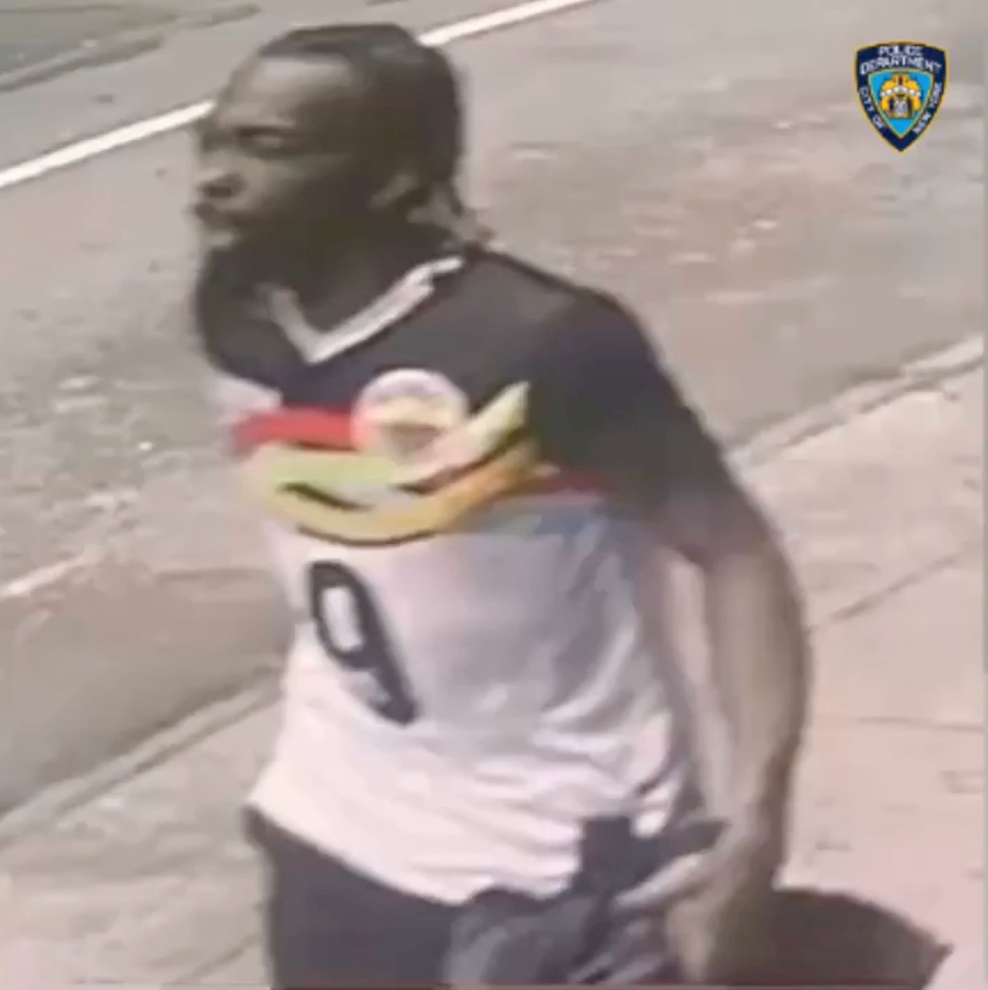 A man, whom police says is connected to a shooting near West 44th Street and 7th Avenue in Manhattan New York, U.S., on May 8, 2021, is seen in this still image taken from a surveillance footage. @NYPDDetectives/via REUTERS