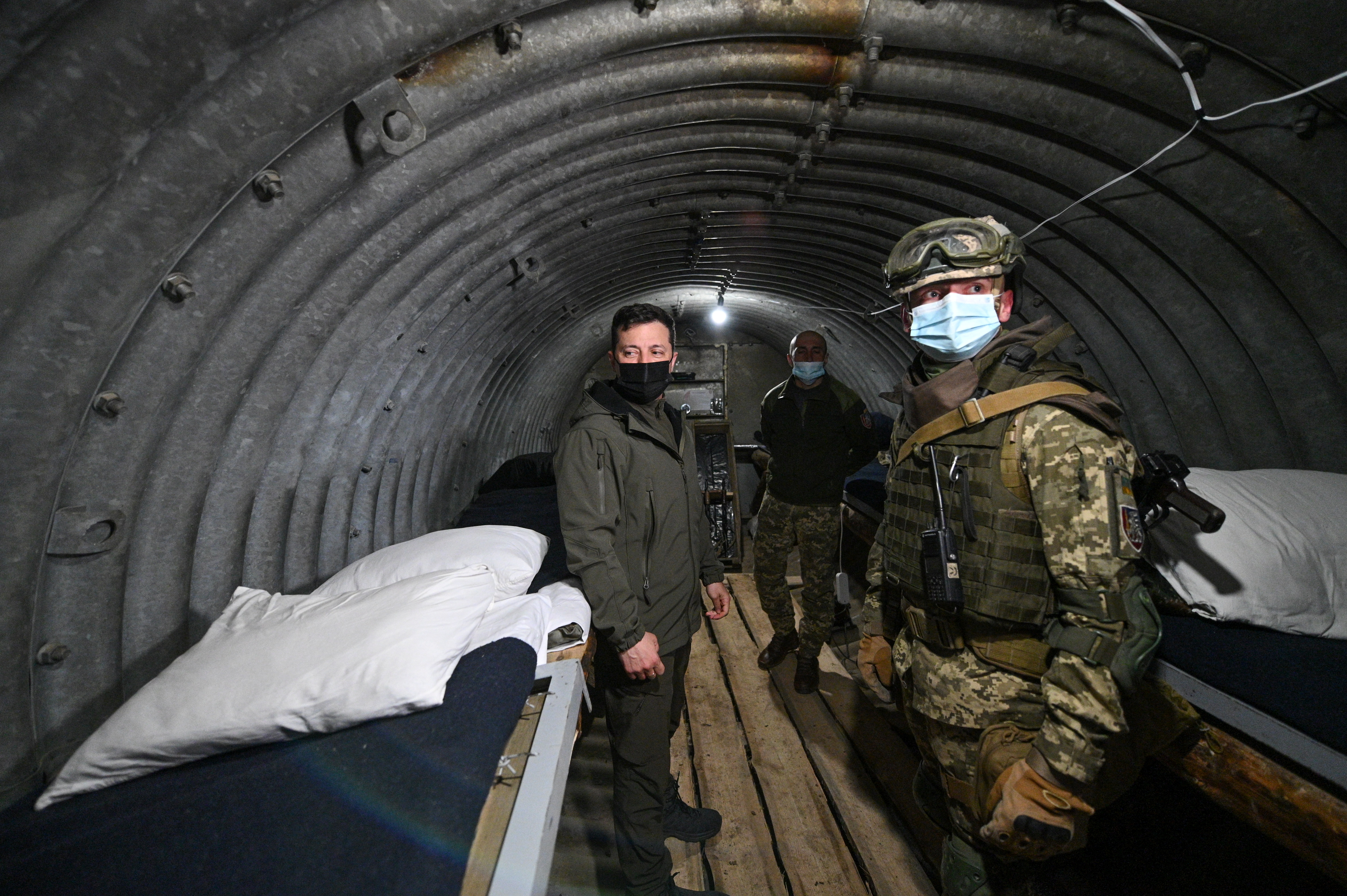 Ukrainian President Volodymyr Zelenskiy visits a military fortification in Kherson Region bordering the Crimean peninsula annexed by Russia, in Ukraine April 27, 2021. Ukrainian Presidential Press Service/Handout via REUTERS