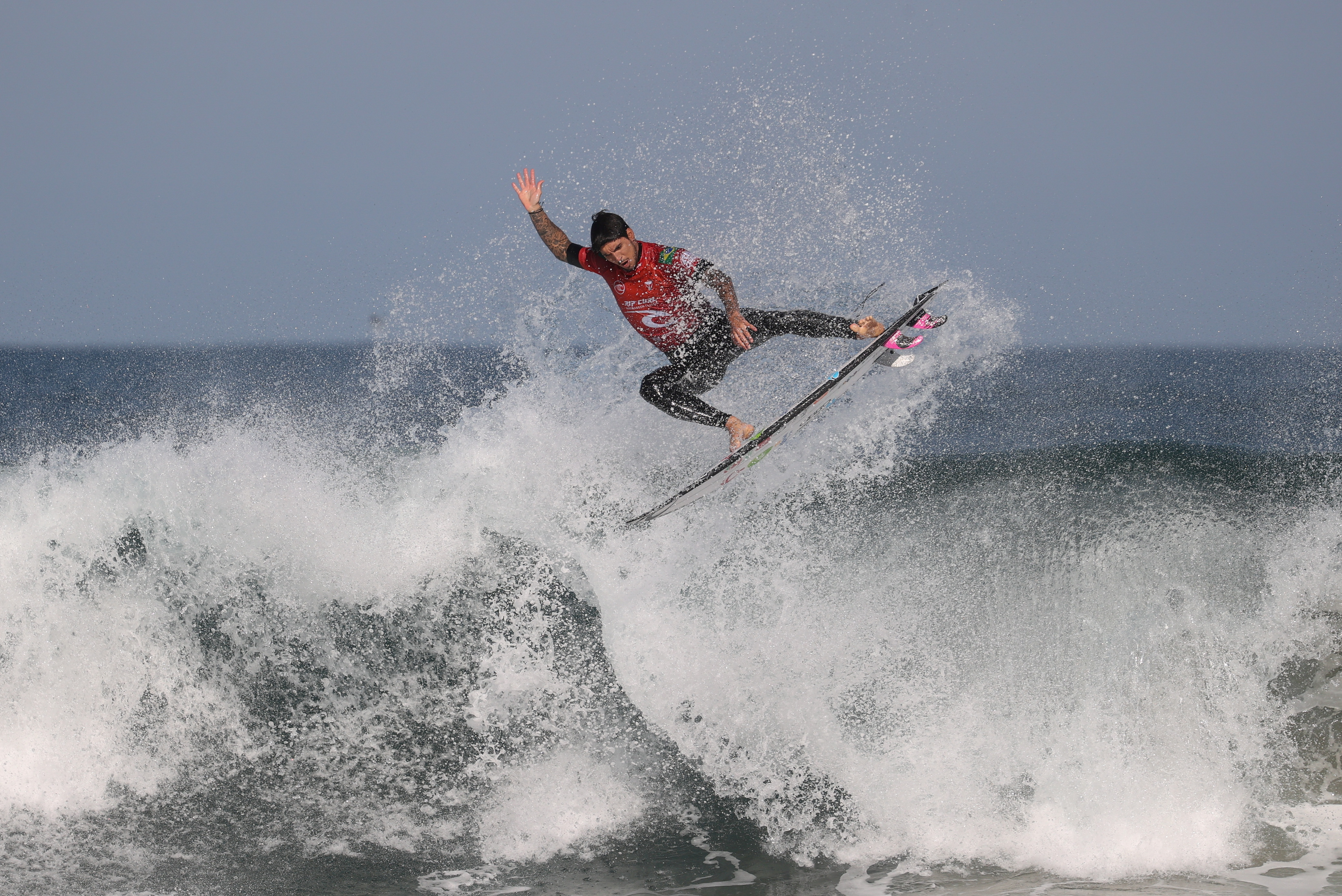 Surfer Gabriel Medina, who is set to represent Brazil at the Tokyo 2020 Summer Olympic Games, competes at the Rip Curl Narrabeen Classic competition in the Narrabeen suburb of northern Sydney, Australia, April 19, 2021.  REUTERS/Loren Elliott/File Photo