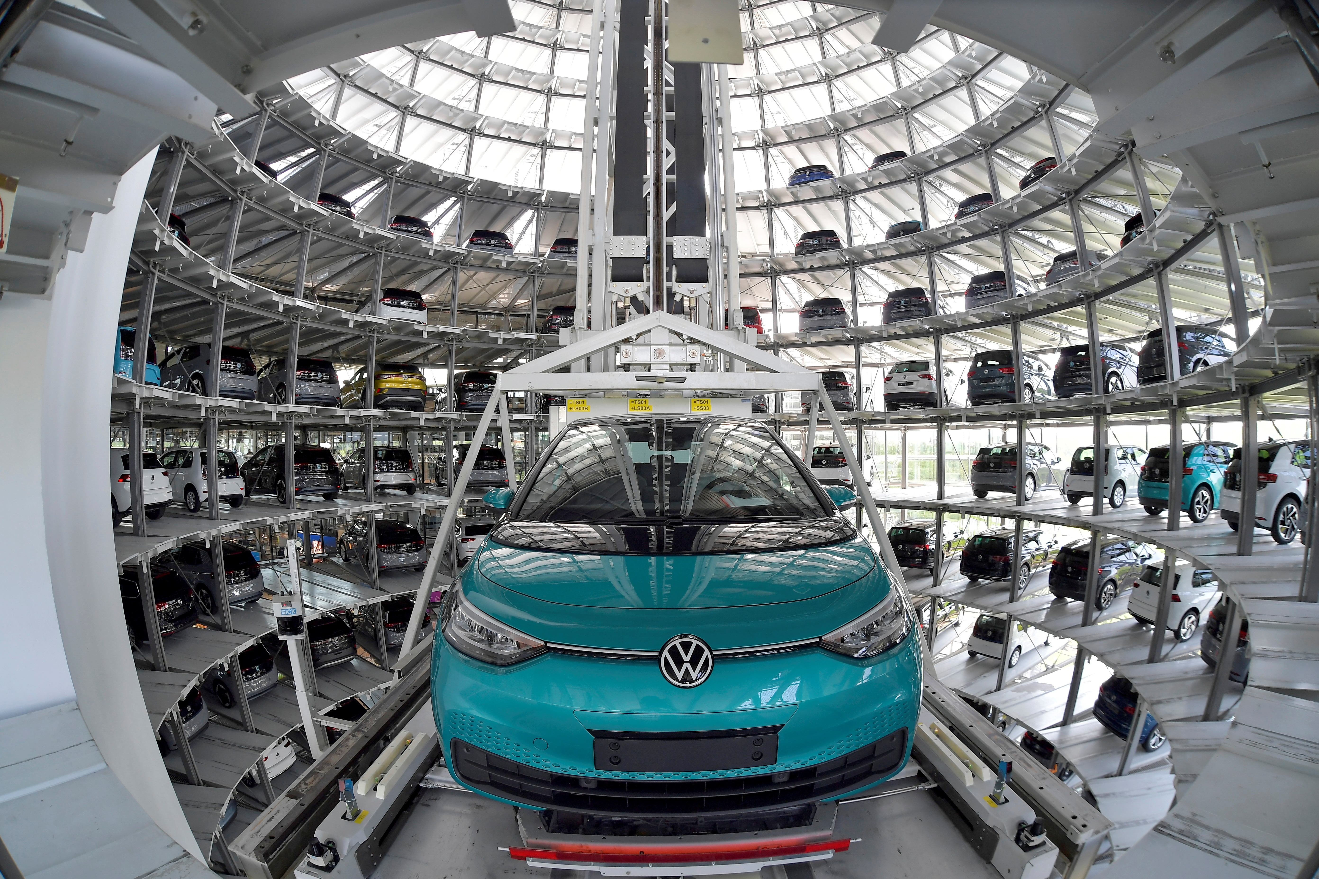 View to the depot tower of German carmaker Volkswagen's electric ID. 3 car in Dresden, Germany, June 8, 2021. Picture taken with a fish eye lens. REUTERS/Matthias Rietschel