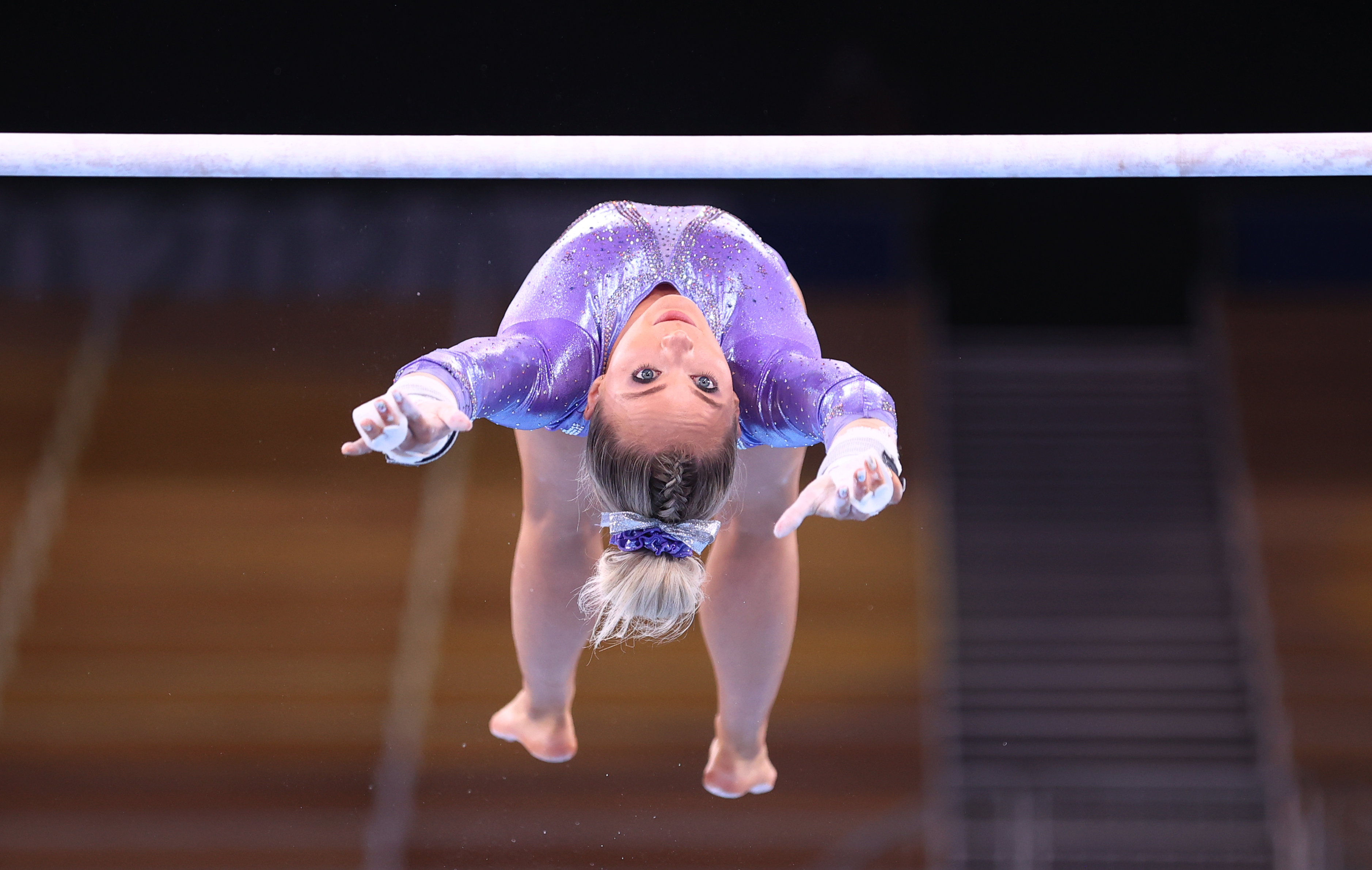 Tokyo 2020 Olympics - Gymnastics Artistic Training - Ariake Gymnastics Centre, Tokyo, Japan - July 22, 2021 Mykayla Skinner of the United States on the uneven bars during training REUTERS/Mike Blake