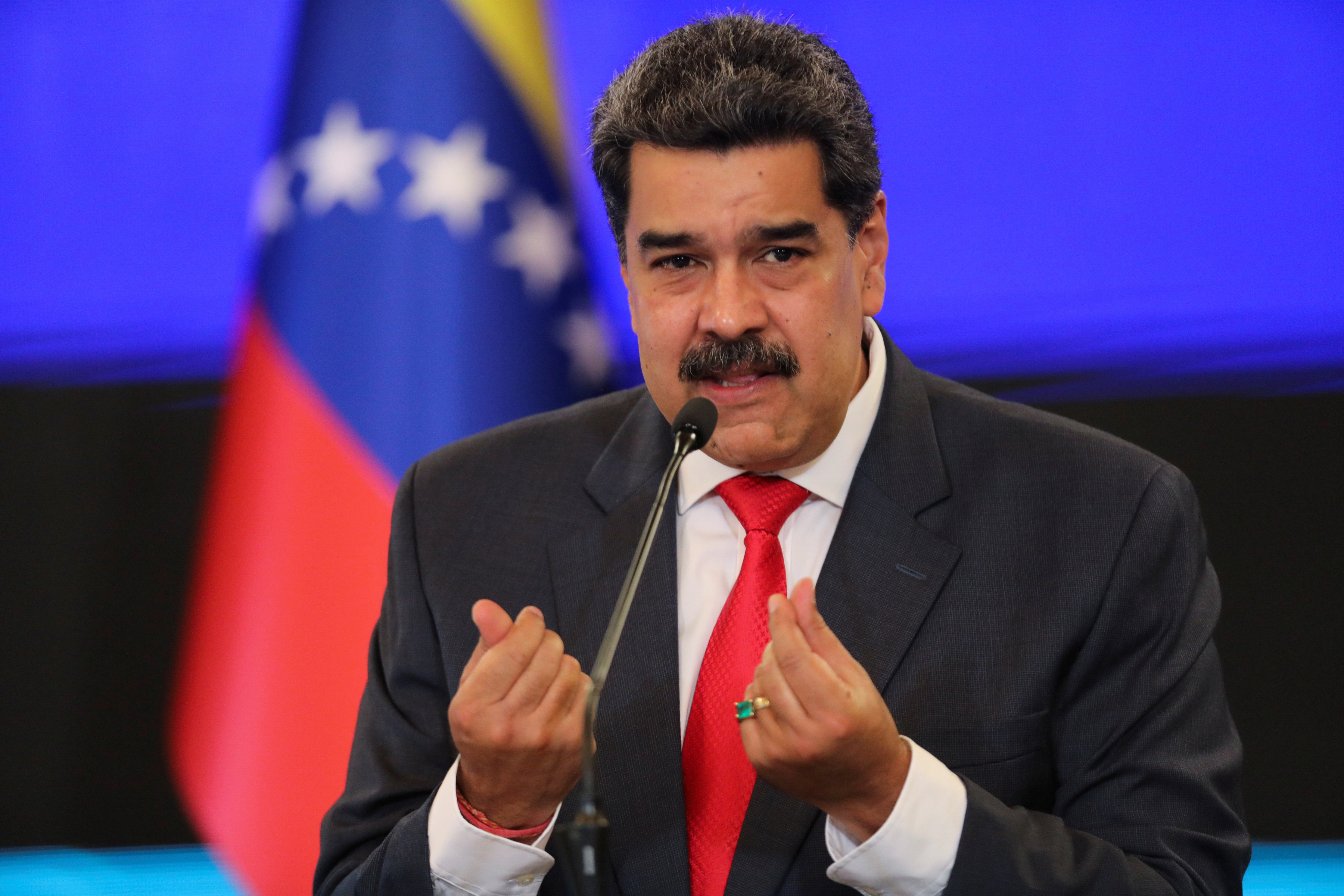 Venezuelan President Nicolas Maduro gestures as he speaks during a press conference following the ruling Socialist Party's victory in legislative elections that were boycotted by the opposition in Caracas, Venezuela December 8, 2020. REUTERS/Manaure Quintero/File Photo