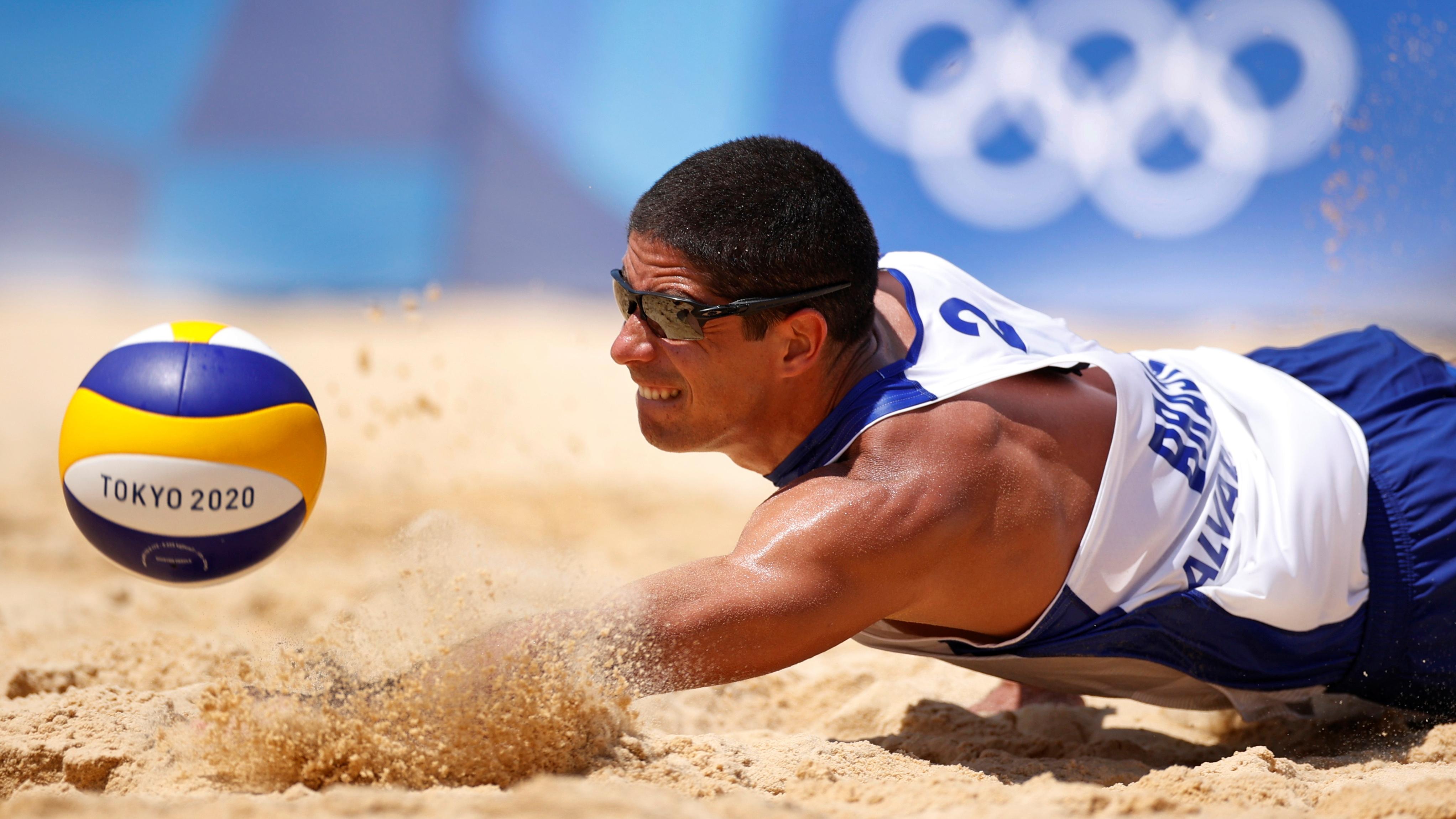 Tokyo 2020 Olympics - Beach Volleyball - Men - Pool D - Brazil (Alison/Alvaro Filho) - Argentina (Azaad/Capogrosso) - Shiokaze Park, Tokyo, Japan - July 24, 2021. Alvaro Filho of Brazil in action. REUTERS/John Sibley