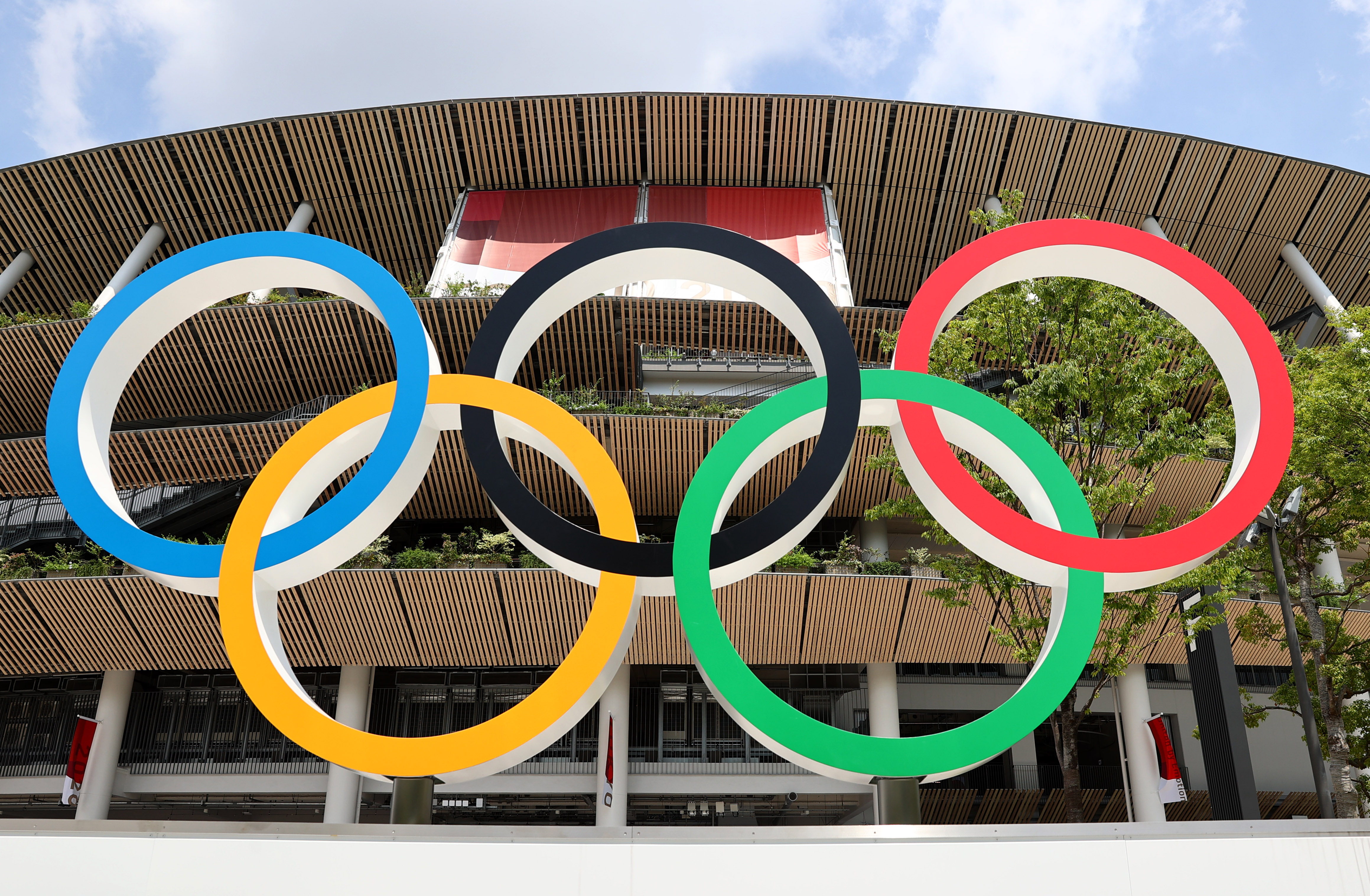 Tokyo 2020 Olympics Preview - Tokyo, Japan - July 20, 2021 General view of the Olympic Rings outside The National Stadium, the main venue of the Tokyo 2020 Olympic Games REUTERS/Kim Kyung-Hoon