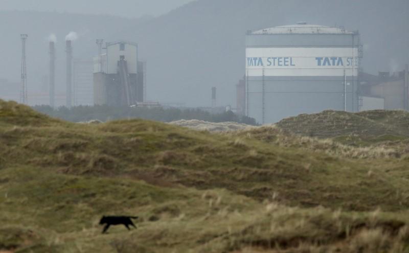 Tata Steel steelworks are seen on the South Wales coastline, Port Talbot, Britain, February 24, 2021. REUTERS/Peter Cziborra/File Photo