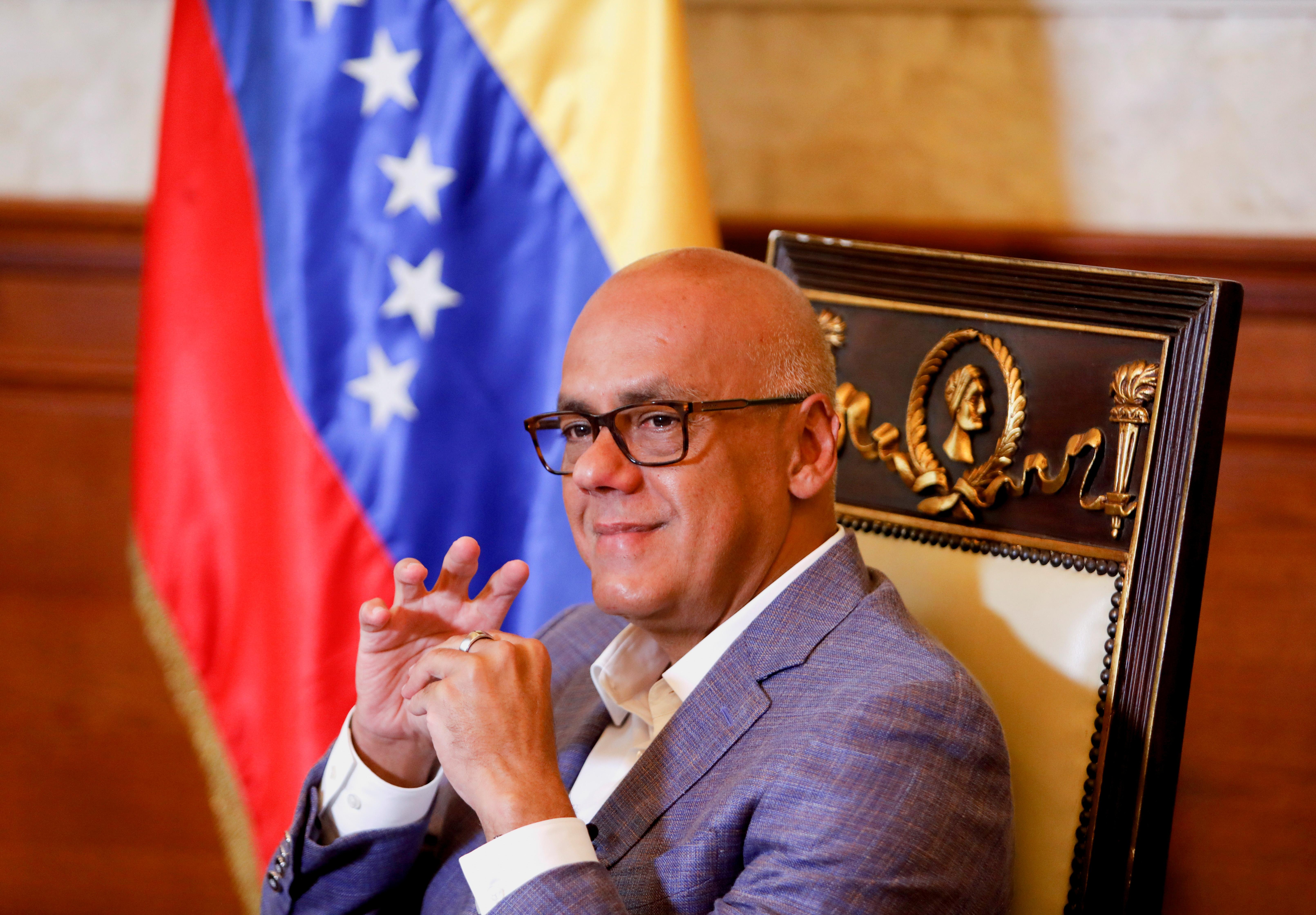 Jorge Rodriguez, head of Venezuela's National Assembly, talks with Reuters in Caracas, Venezuela April 26, 2021. REUTERS/Leonardo Fernandez Viloria