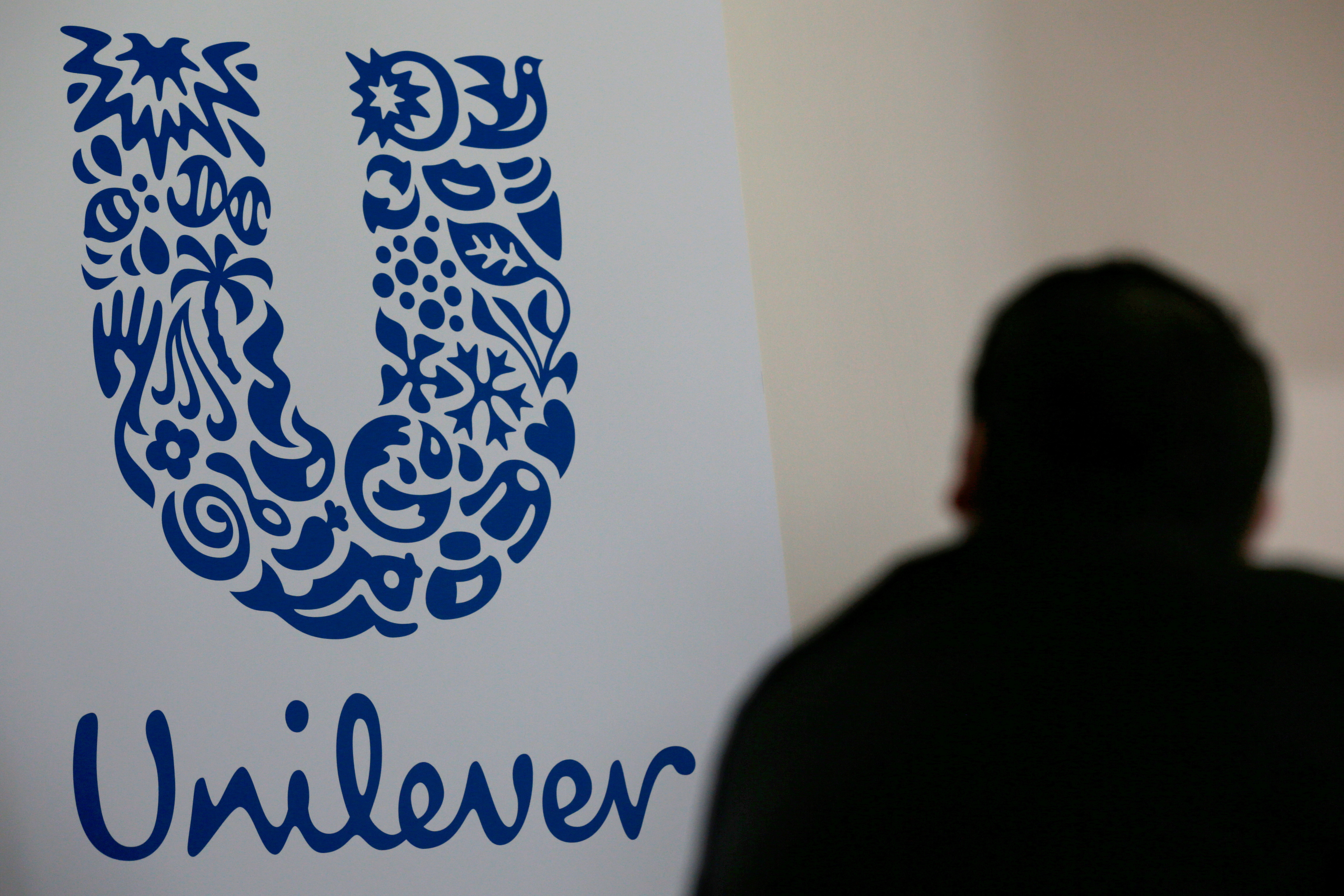 The logo of the Unilever group is seen at the Miko factory in Saint-Dizier, France, May 4, 2016. REUTERS/Philippe Wojazer/File Photo/File Photo
