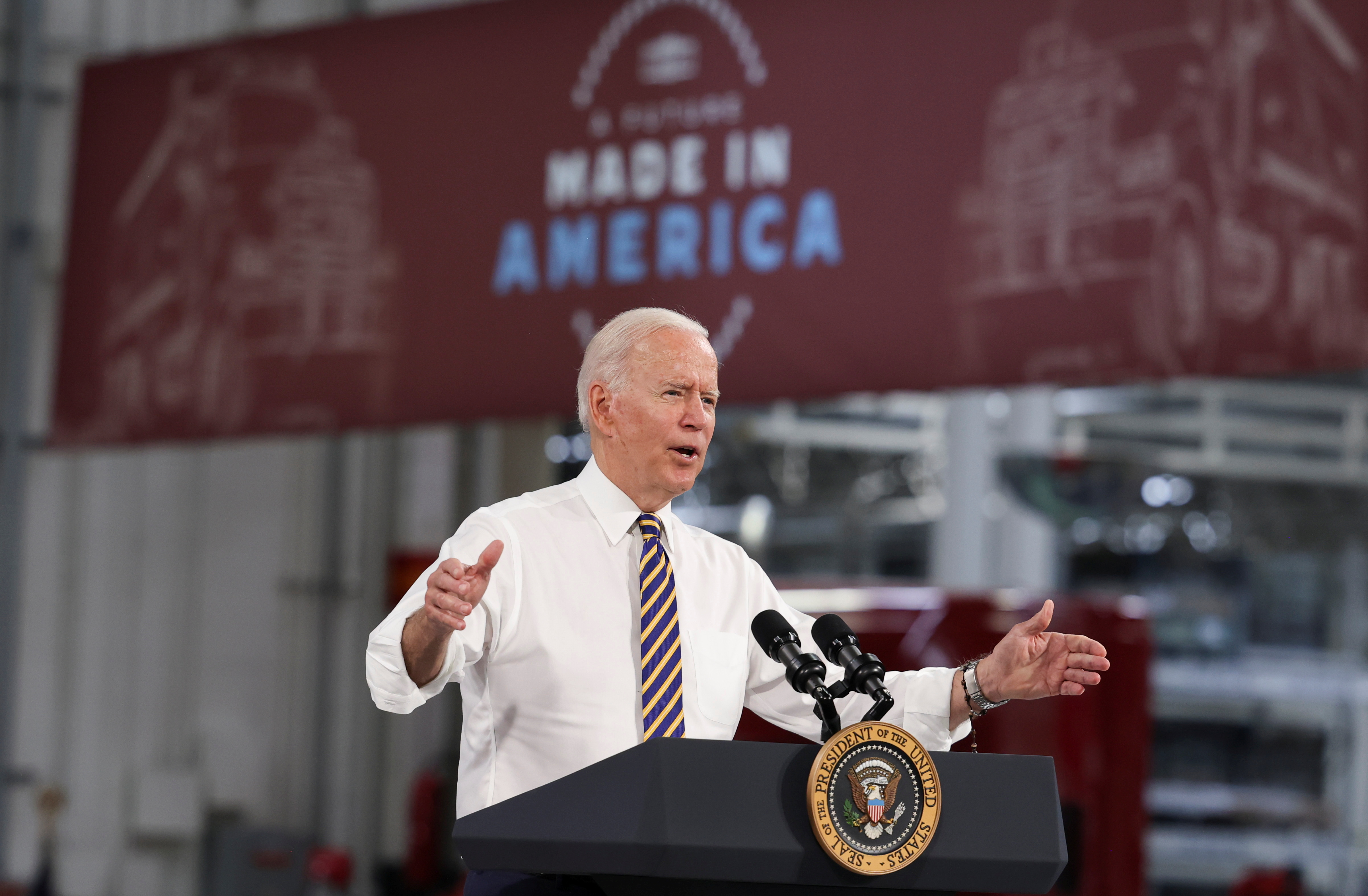 U.S. President Joe Biden speaks during a visit to the Mack-Lehigh Valley Operations Manufacturing Facility in Macungie, Pensylvania, U.S., July 28, 2021. REUTERS/Evelyn Hockstein