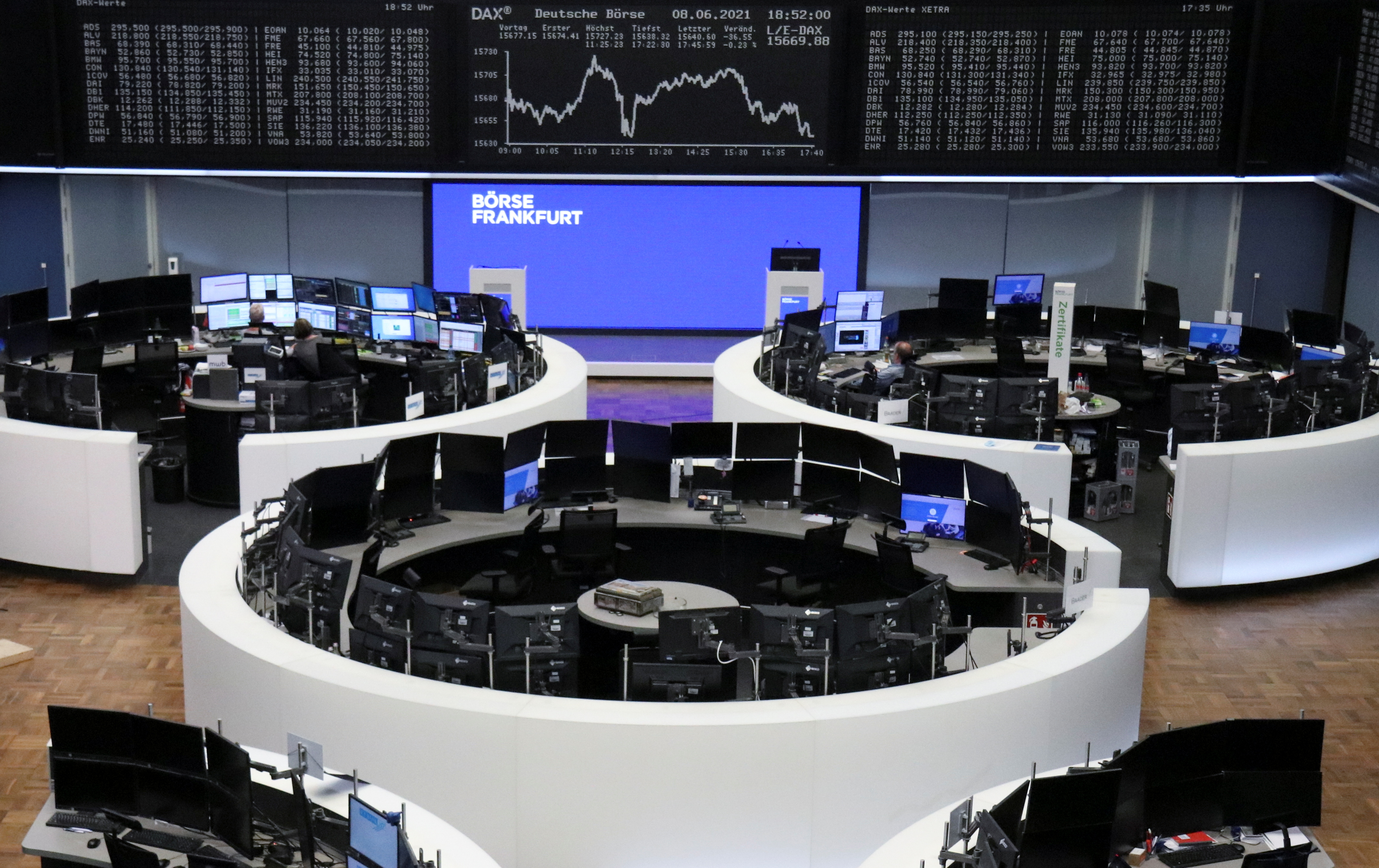 The German share price index DAX graph is pictured at the stock exchange in Frankfurt, Germany, June 8, 2021.    REUTERS/Staff/File photo