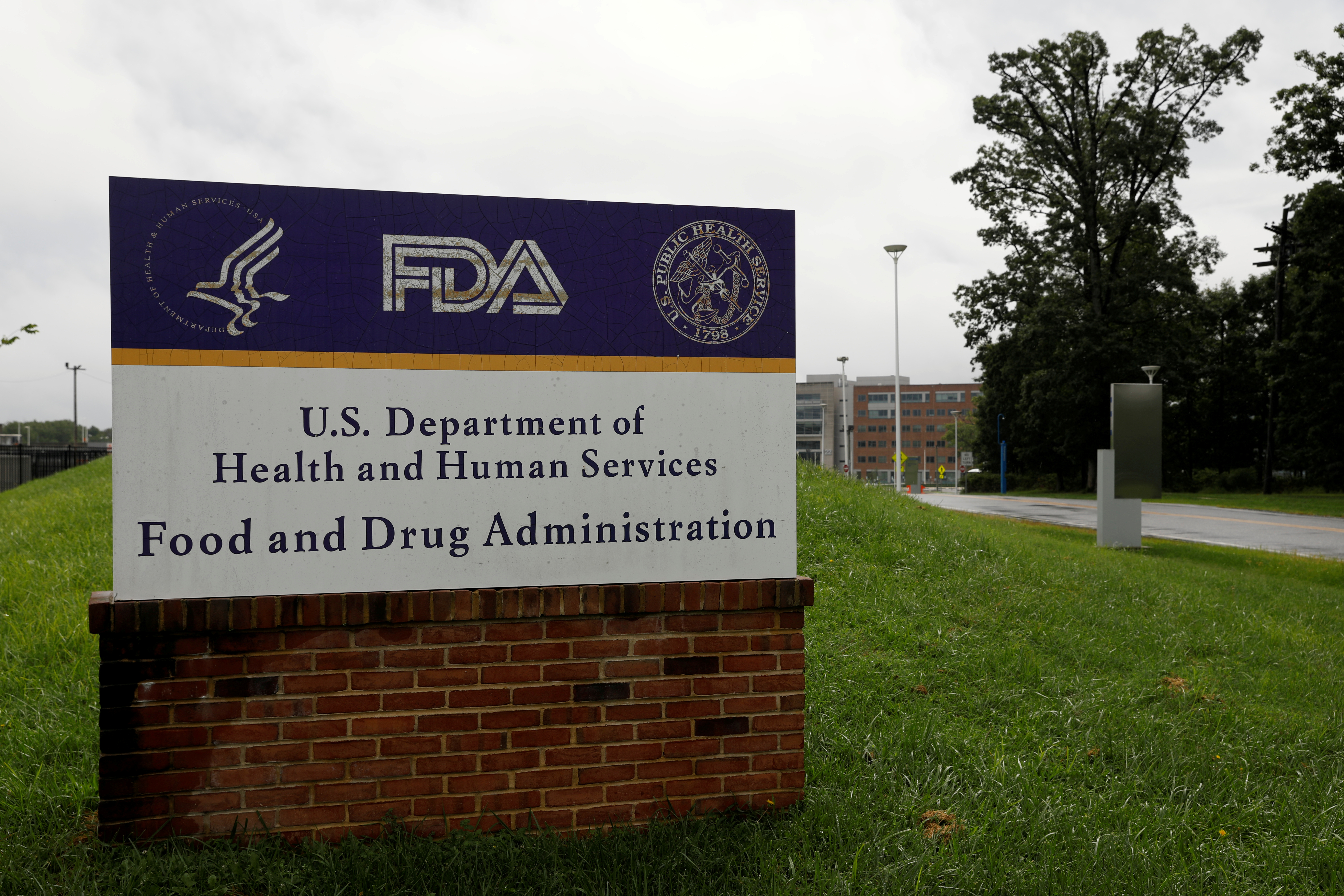 Signage is seen outside of the Food and Drug Administration (FDA) headquarters in White Oak, Maryland, U.S., August 29, 2020. REUTERS/Andrew Kelly/File Photo