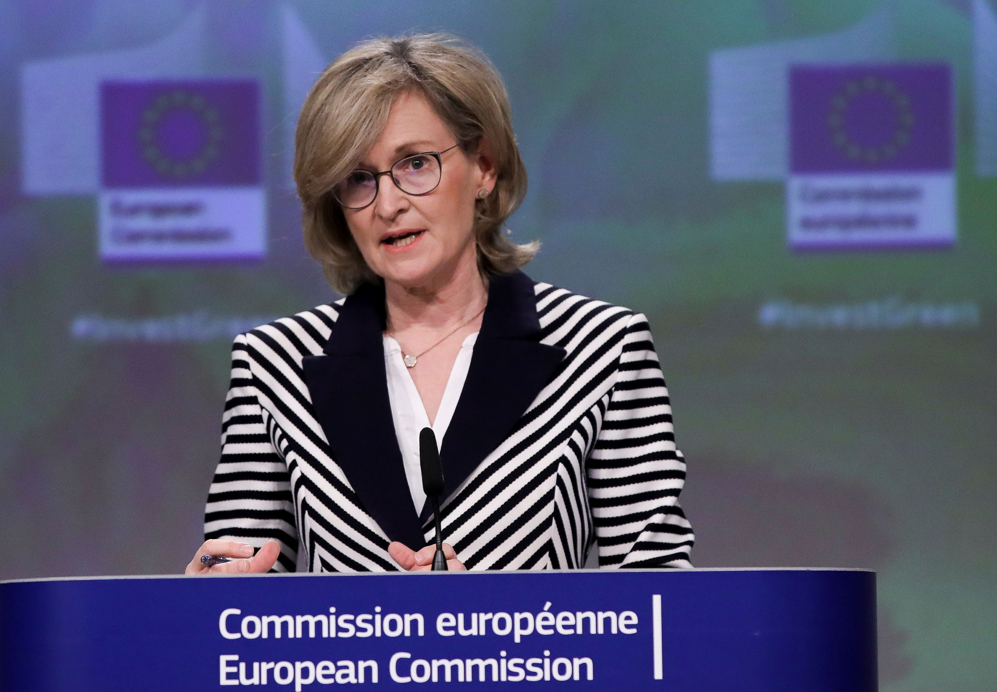 European Commissioner for Financial Services, Financial Stability and the Capital Markets Union, Mairead McGuinness speaks at a media conference on the EU's climate change mitigation and adaptation taxonomy following a weekly meeting of EU Commission in Brussels, Belgium, April 21, 2021. Olivier Hoslet/Pool via REUTERS