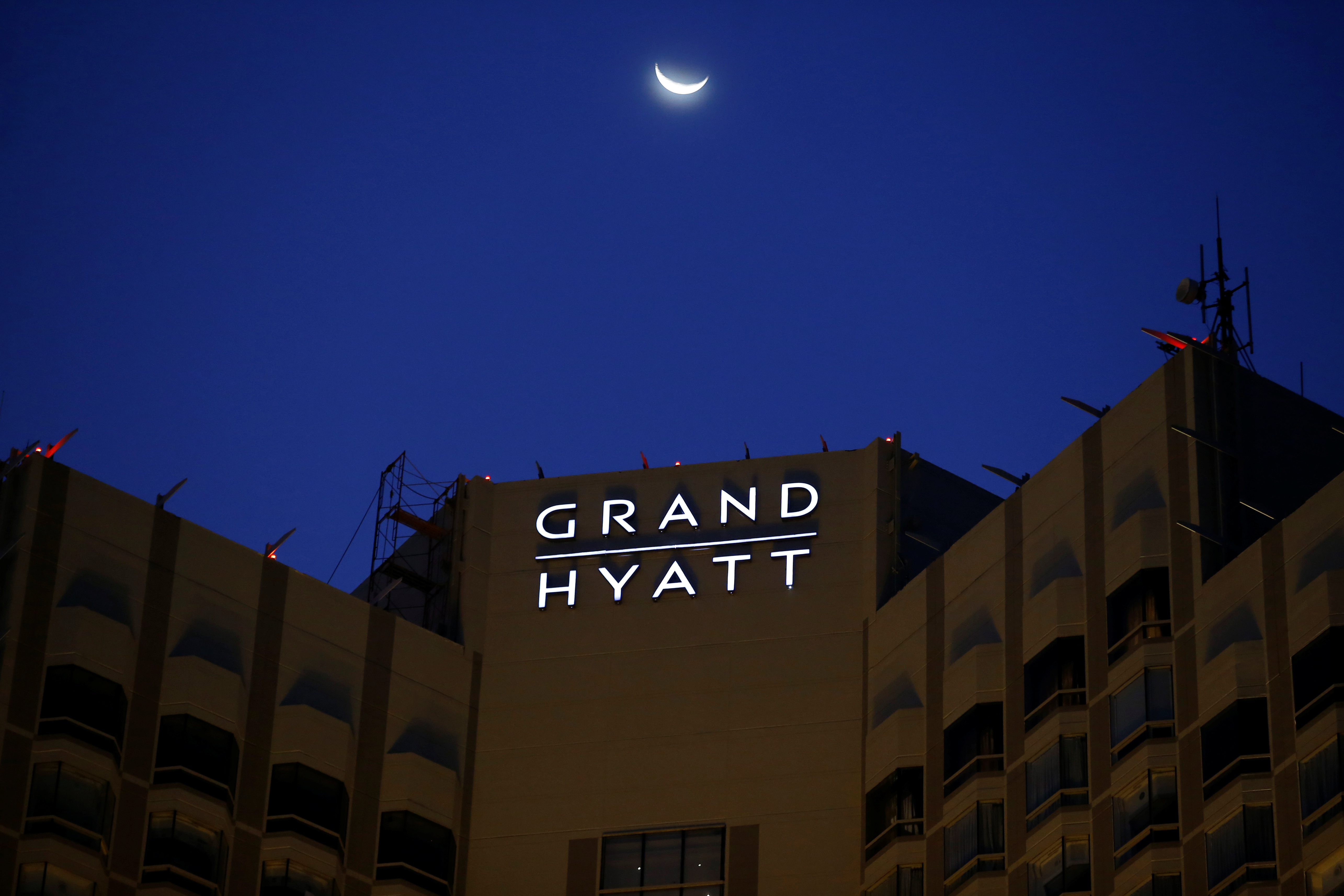 The exterior of the Grand Hyatt hotel is pictured during the dusk, following the coronavirus disease (COVID-19) outbreak, in Jakarta, Indonesia, June 25, 2020. Picture taken June 25, 2020. REUTERS/Willy Kurniawan
