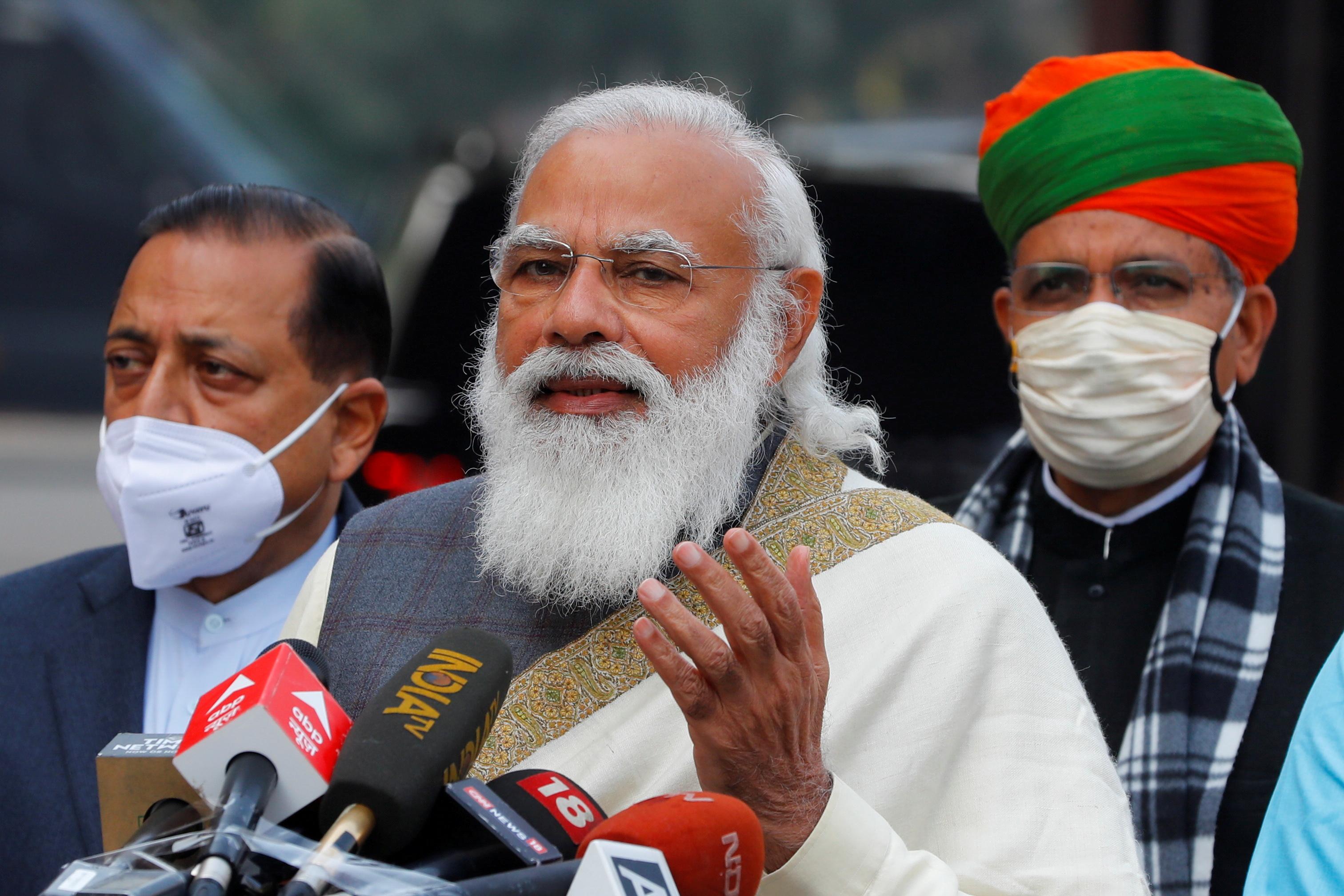 India's Prime Minister Narendra Modi in New Delhi, India, January 29, 2021. REUTERS/Adnan Abidi/File Photo