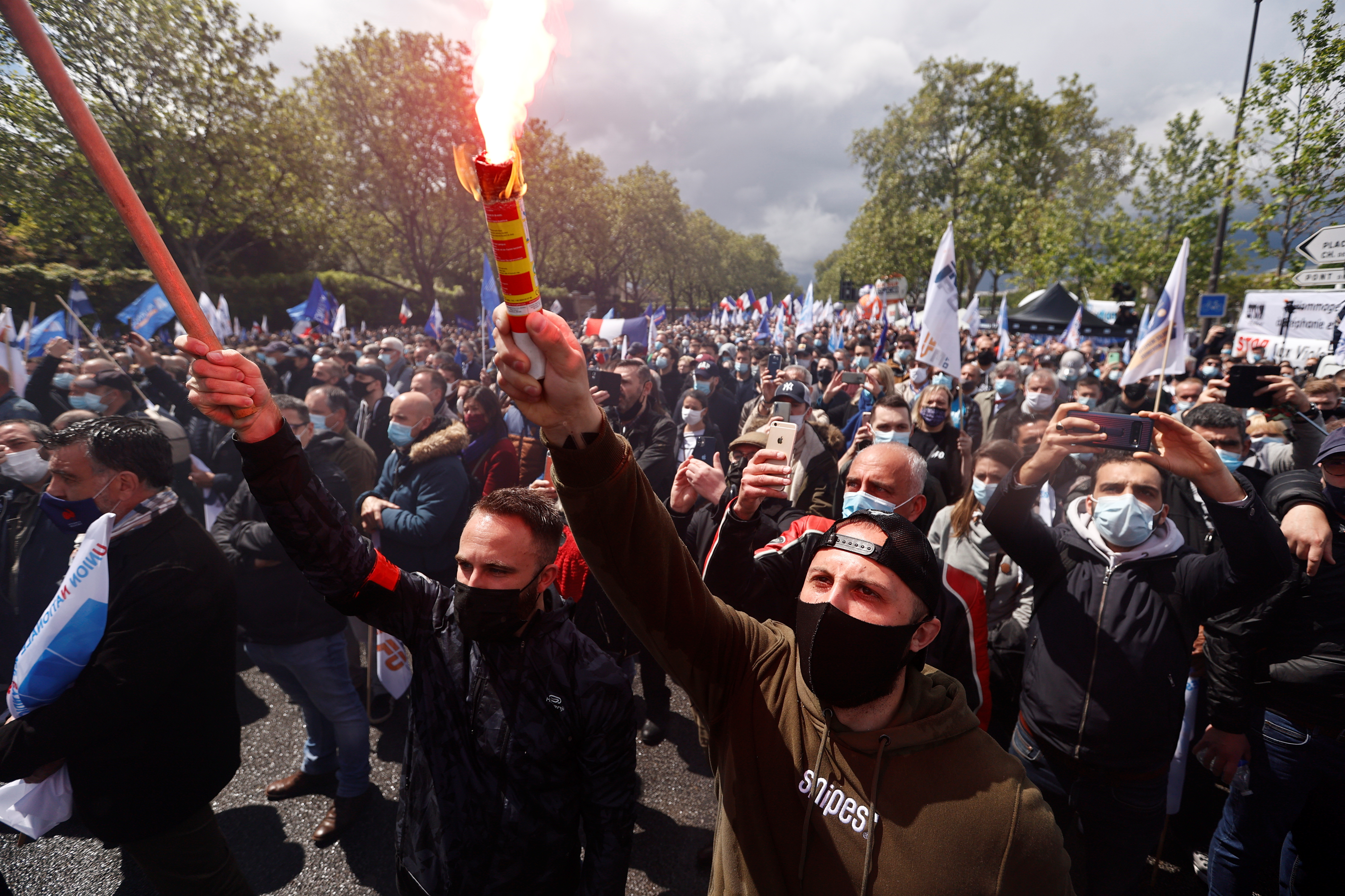 French police officers from all over France gather in front of the National Assembly in Paris to protest against violence against themselves and require a greater severity in the penal response to their aggressors, France, May 19, 2021. REUTERS/Christian Hartmann