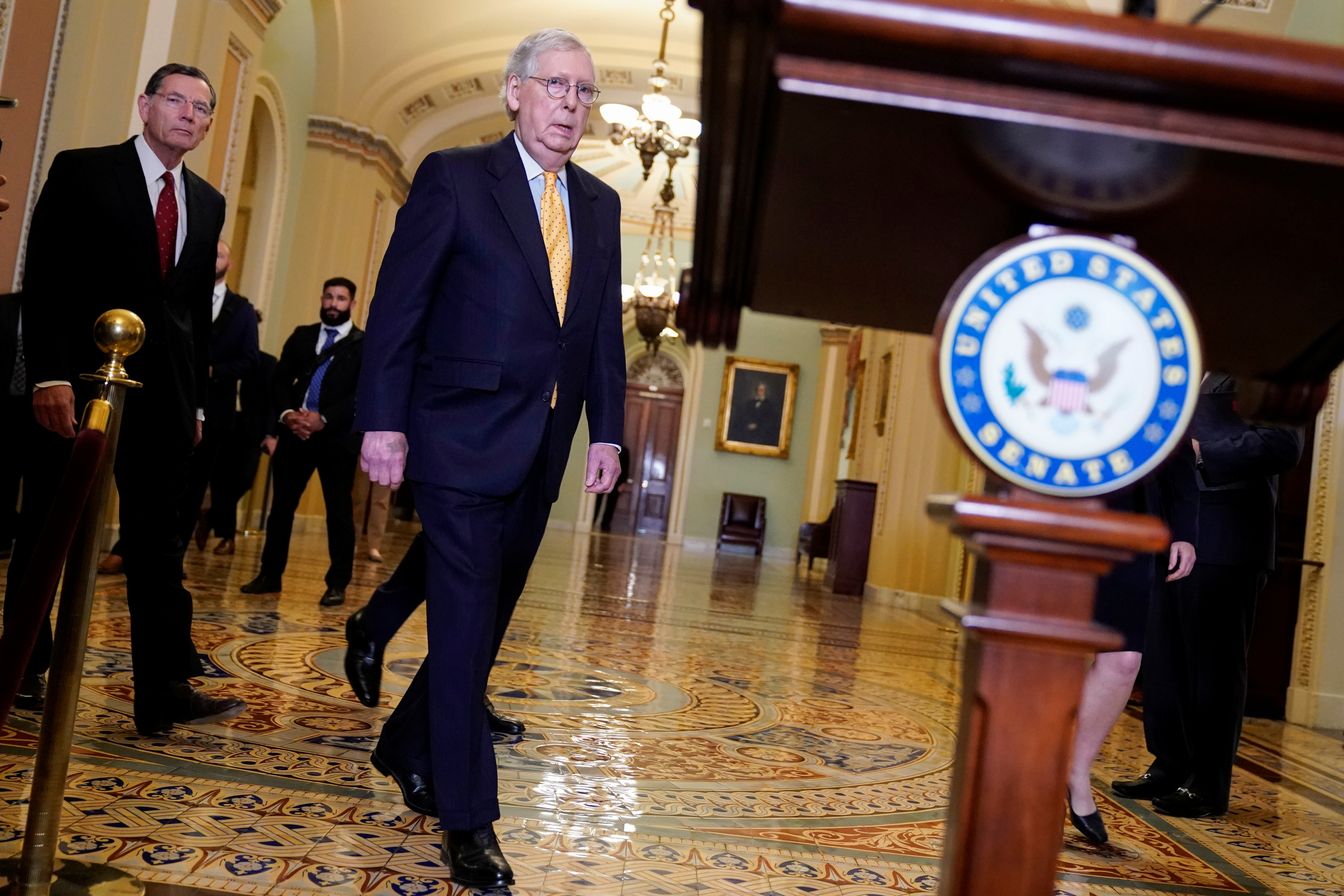Senate Minority Leader Mitch McConnell (R-KY) arrives to speak after the Republican policy luncheon on Capitol Hill in Washington, U.S., July 27, 2021.      REUTERS/Joshua Roberts