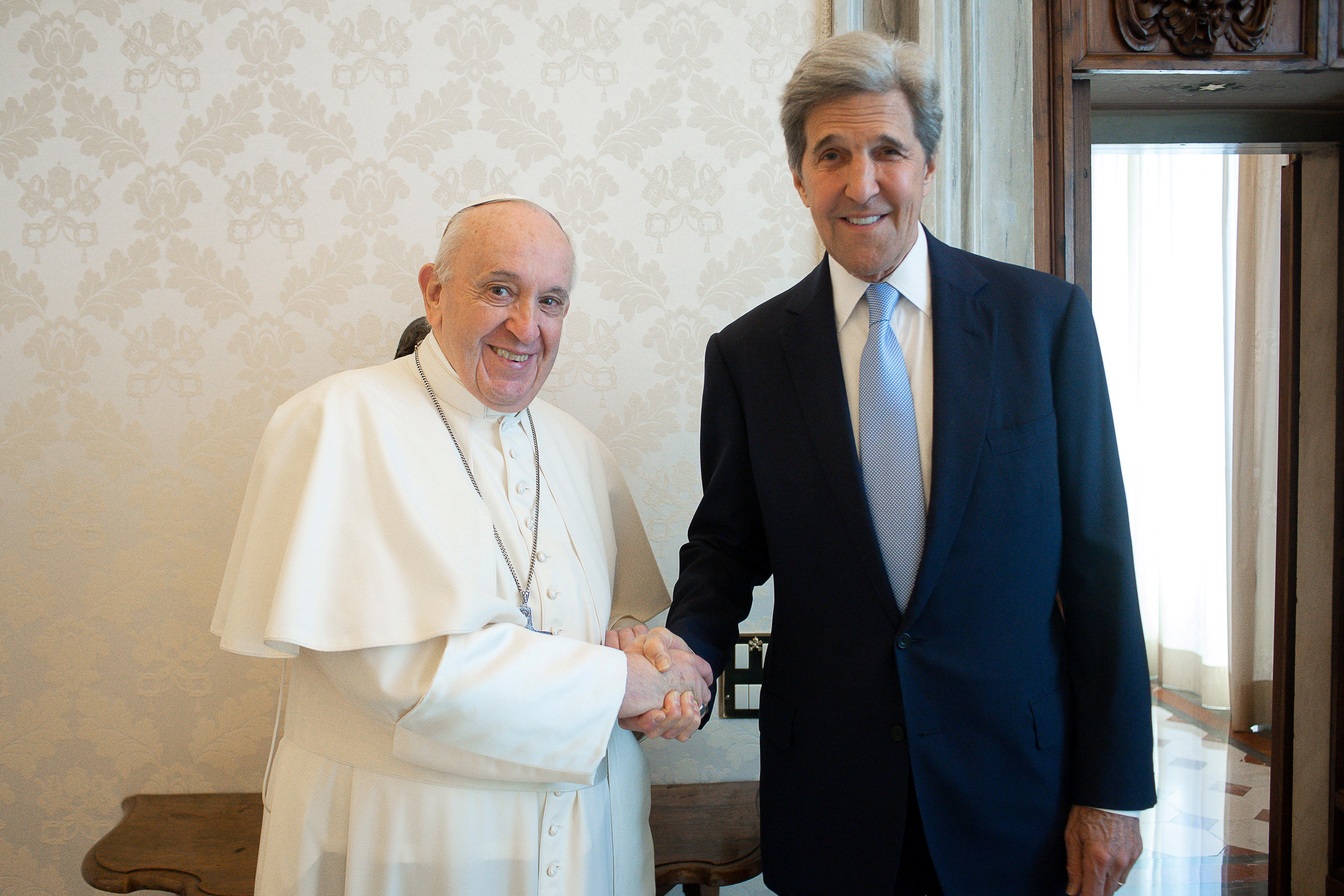 Pope Francis meets U.S. climate envoy John Kerry at the Vatican May 15, 2021   Vatican Media/Handout via REUTERS