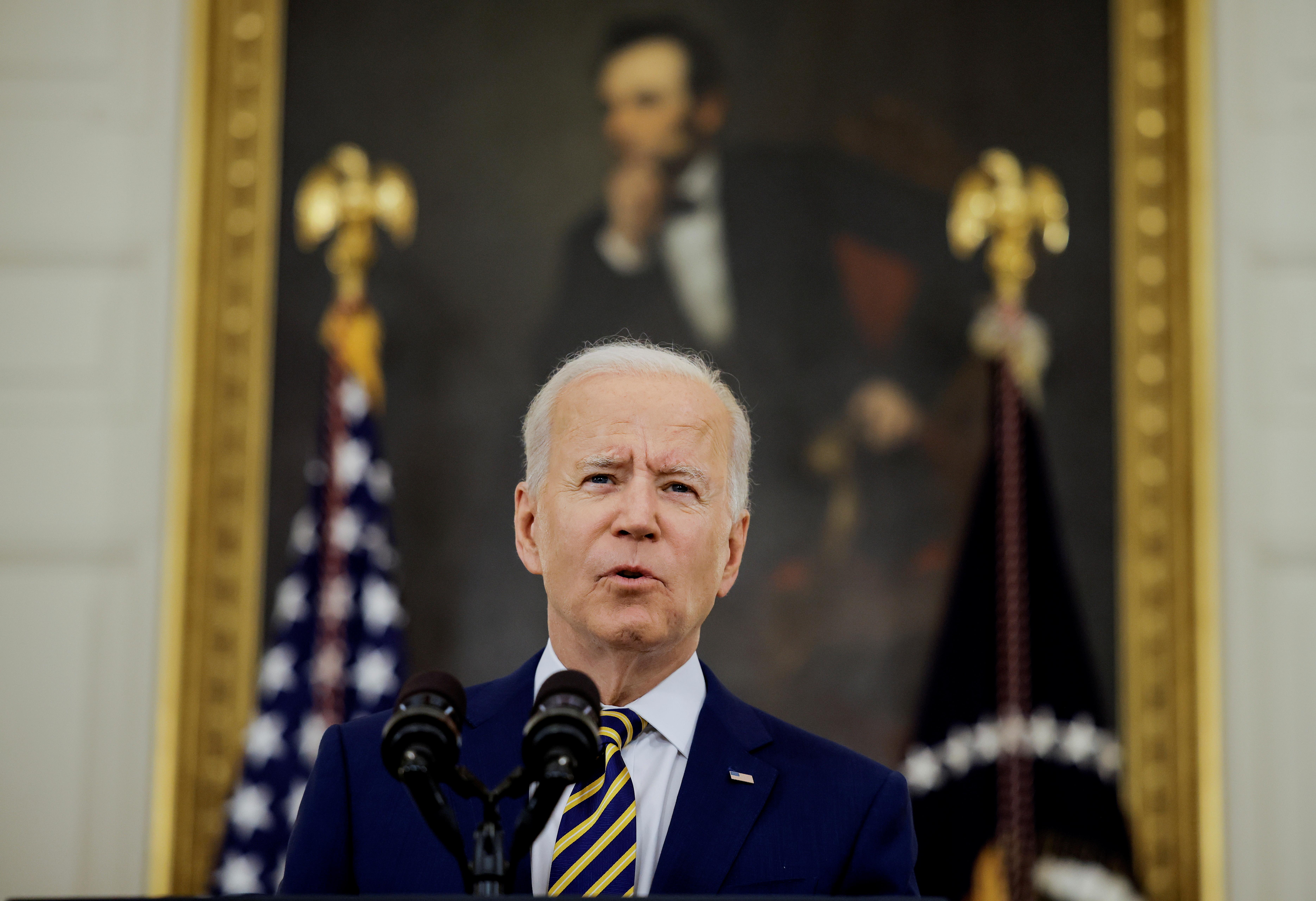 U.S. President Joe Biden speaks in the State Dining Room of the White House in Washington, U.S., June 18, 2021. REUTERS/Carlos Barria