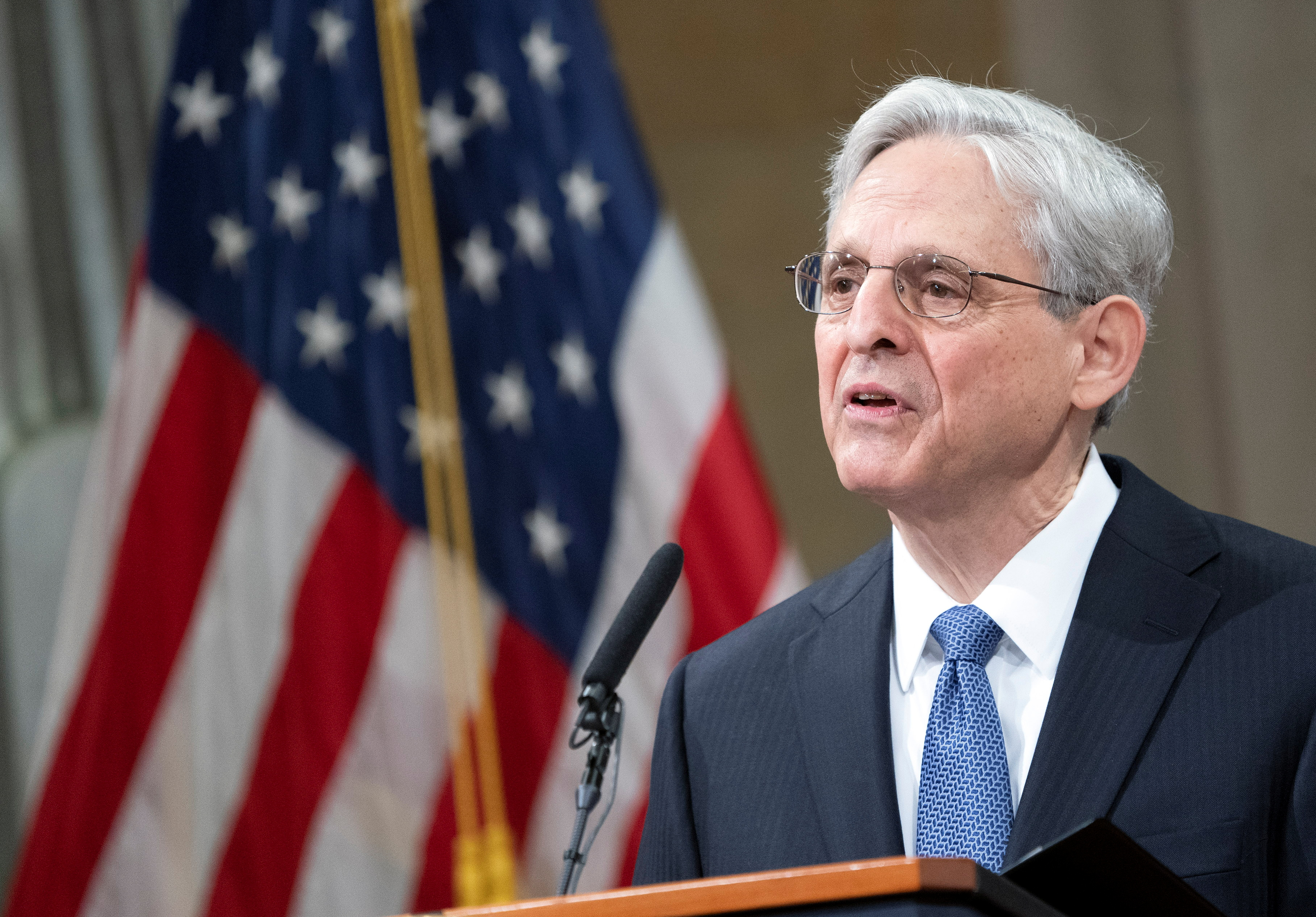 U.S. Attorney General Merrick Garland addresses staff on his first day at U.S. Department of Justice in Washington, DC, U.S. March 11, 2021. Kevin Dietsch/Pool via REUTERS
