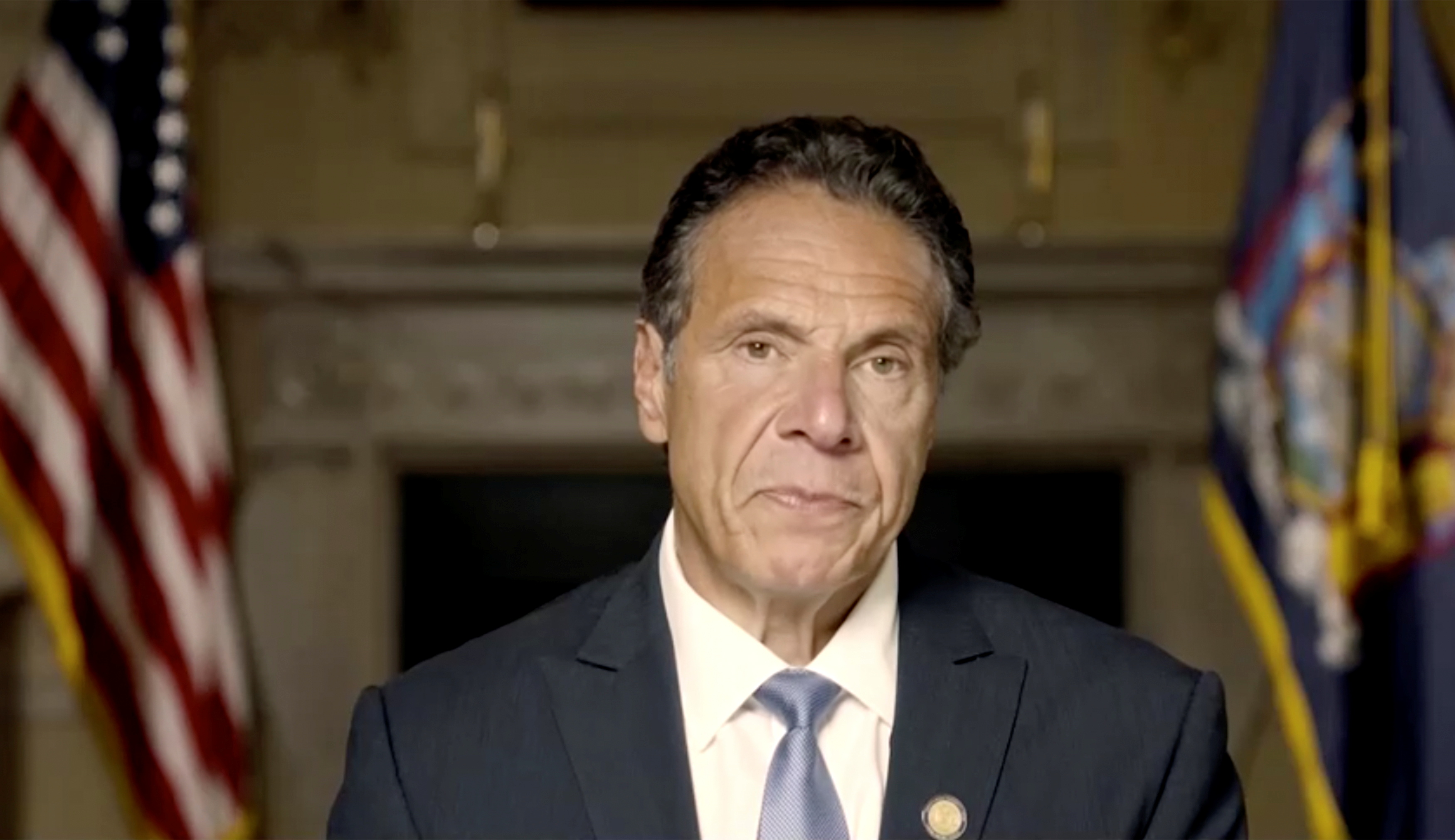 New York Governor Andrew Cuomo makes a statement in this screen grab taken from a pre-recorded video released by Office of the NY Governor, in New York, U.S., August 3, 2021.  Office of Governor Andrew M. Cuomo/Handout via REUTERS  THIS IMAGE HAS BEEN SUPPLIED BY A THIRD PARTY.