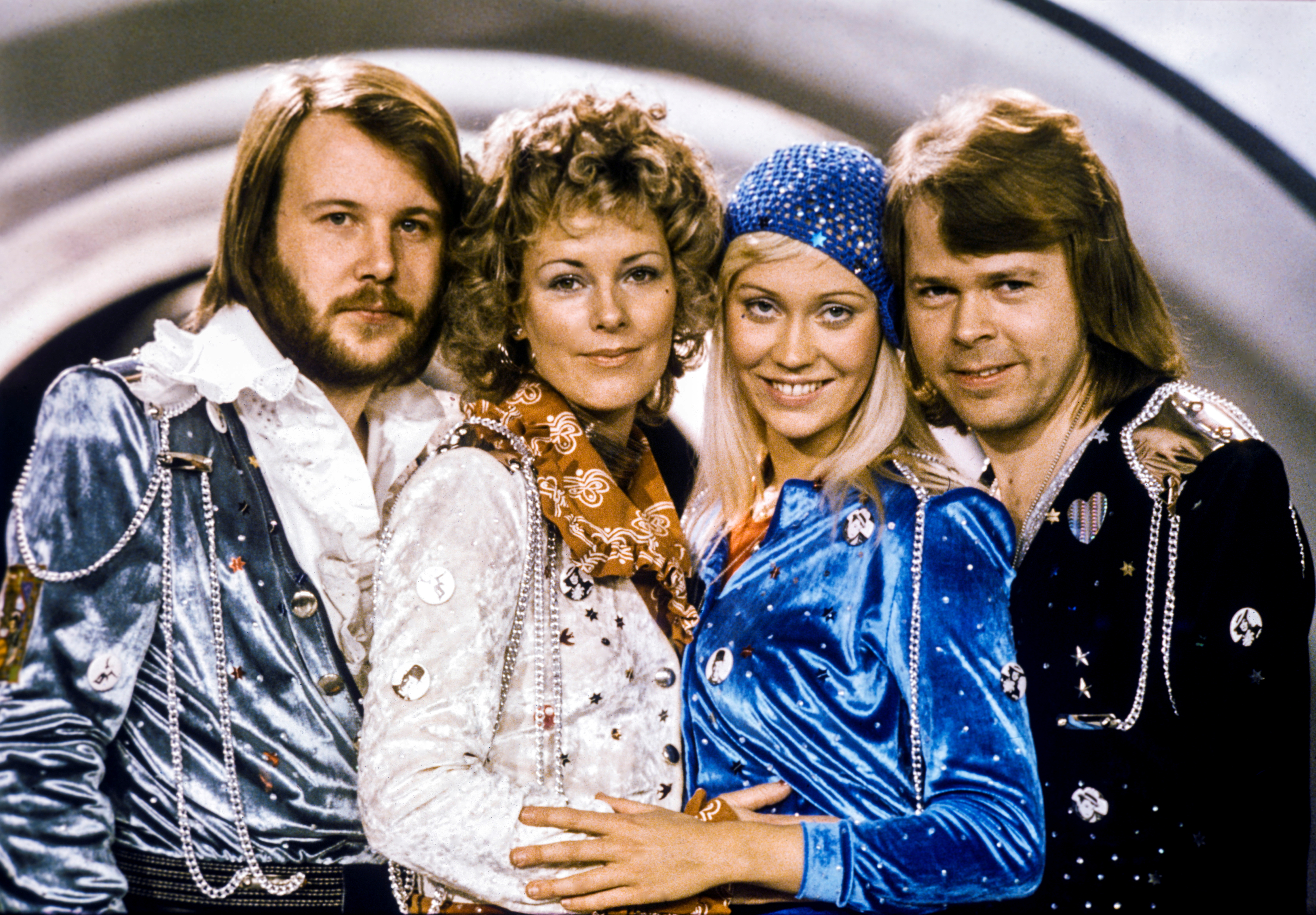 Swedish pop group Abba: Benny Andersson, Anni-Frid Lyngstad, Agnetha Faltskog and Bjorn Ulvaeus pose after winning the Swedish branch of the Eurovision Song Contest with their song