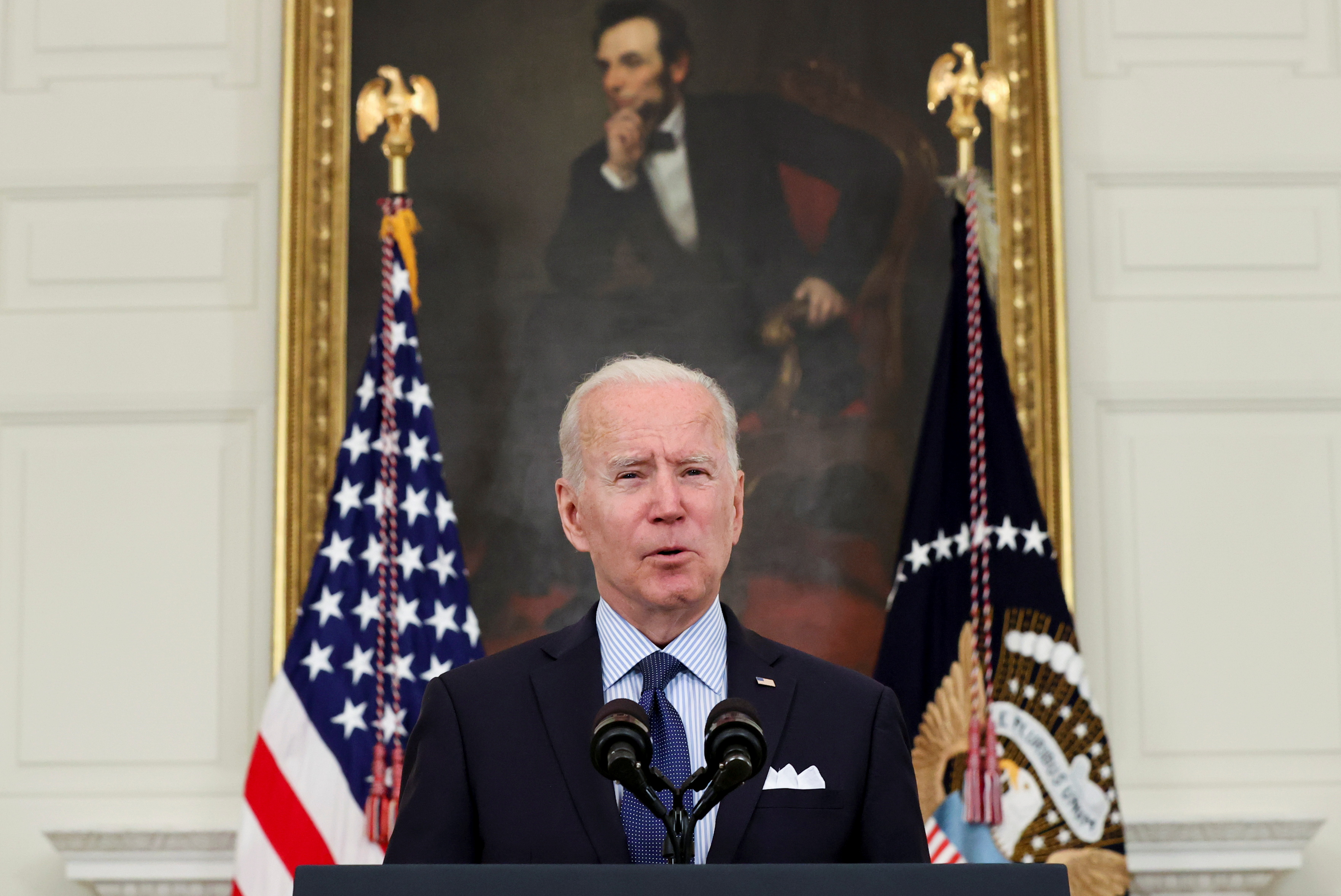 U.S. President Joe Biden delivers remarks on the state of the coronavirus disease (COVID-19) vaccinations from the State Dining Room at the White House in Washington, D.C., U.S., May 4, 2021. REUTERS/Jonathan Ernst
