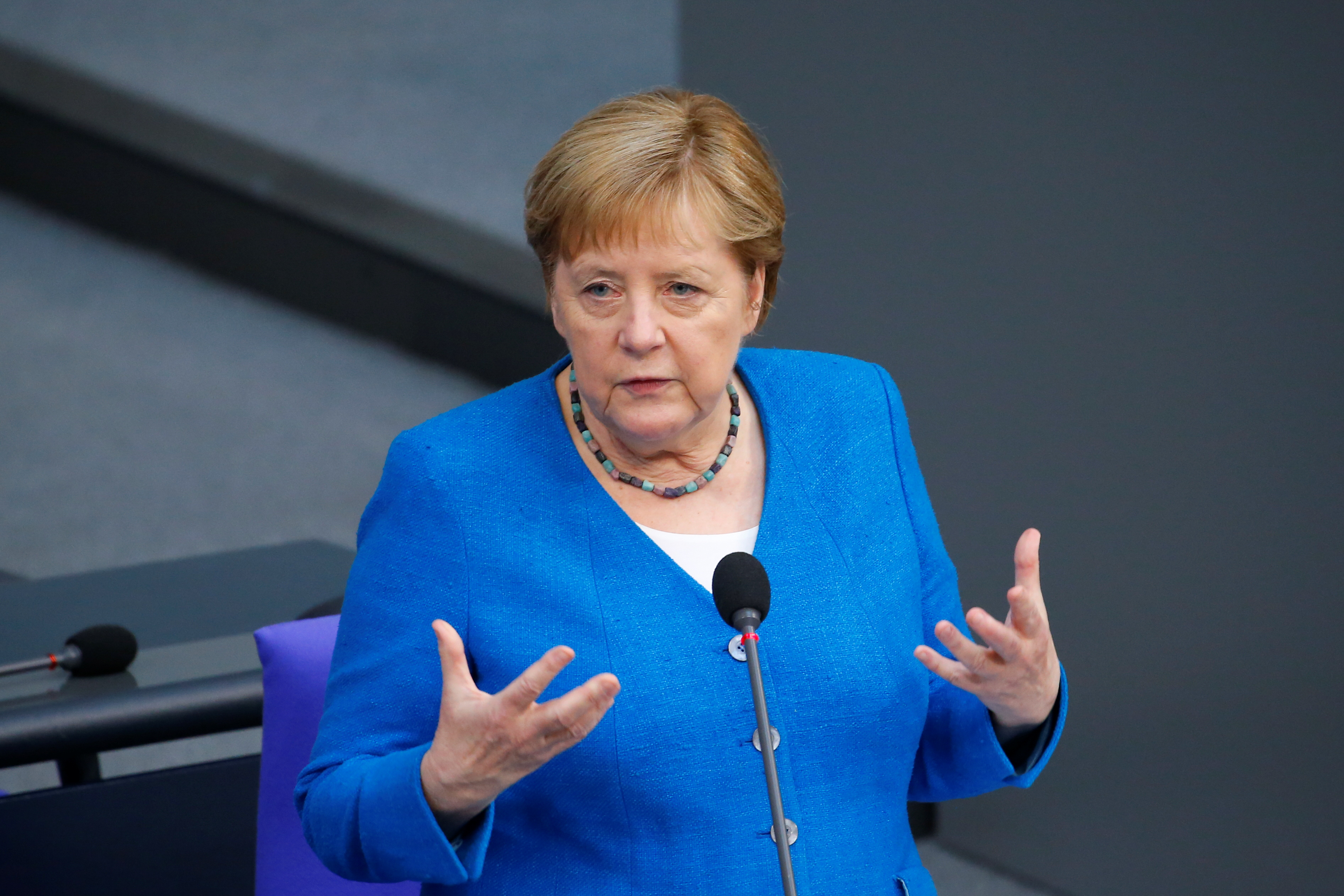 German Chancellor Angela Merkel speaks during the last session of the lower house of parliament Bundestag before federal elections, in Berlin, Germany, June 23, 2021. REUTERS/Michele Tantussi