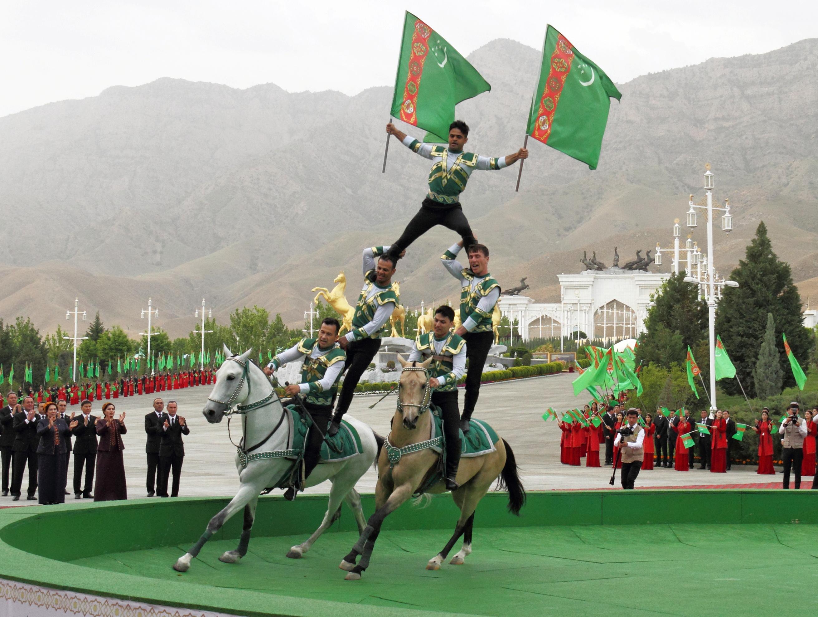 Horsemen perform during celebrations for the national Turkmen Horse Day and the Turkmen Shepherd Dog Day near Ashgabat, Turkmenistan April 25, 2021. REUTERS/Vyacheslav Sarkisyan
