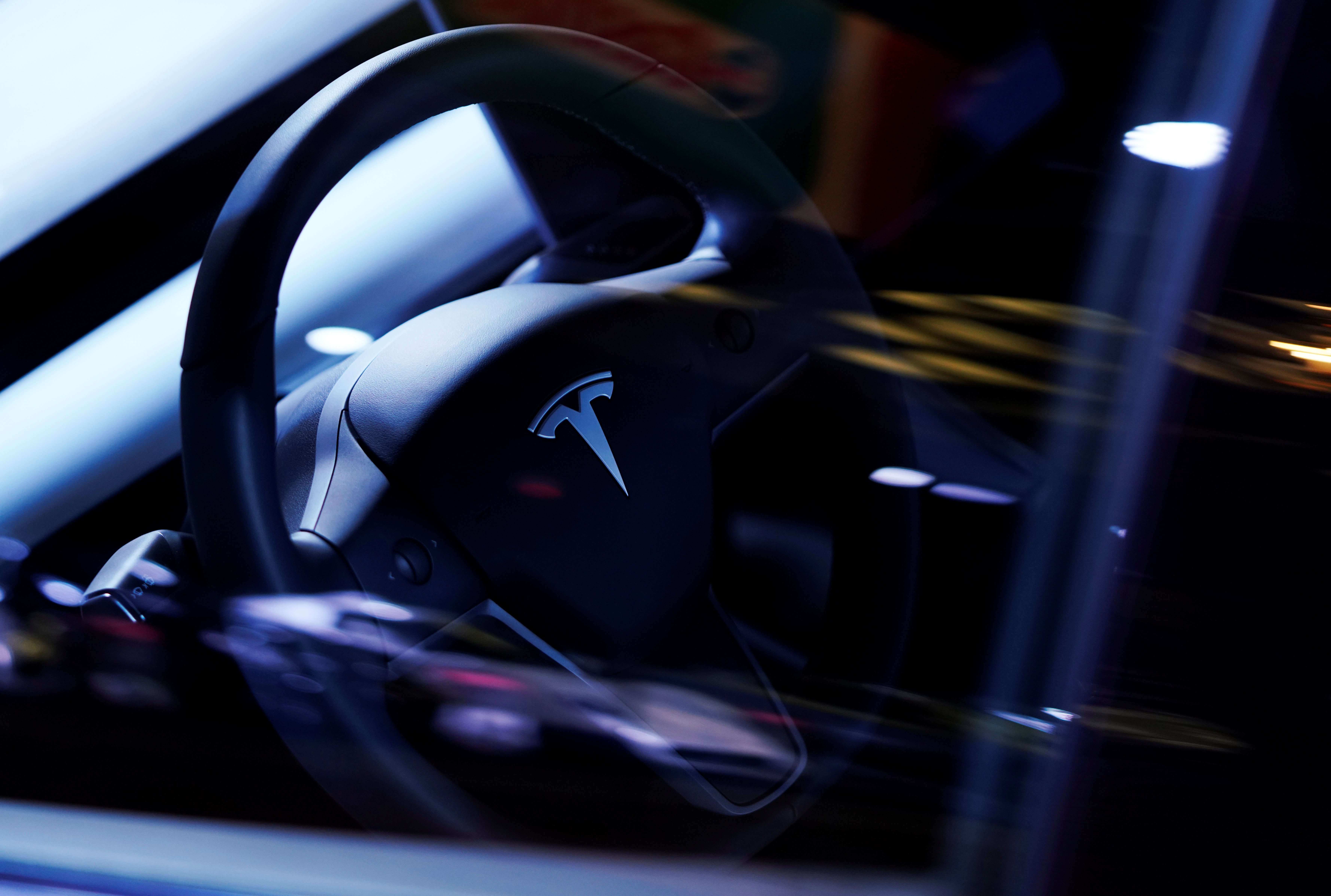 A Tesla Model S steering wheel is on display at the Canadian International AutoShow in Toronto, Ontario, Canada, February 13, 2019.   REUTERS/Mark Blinch