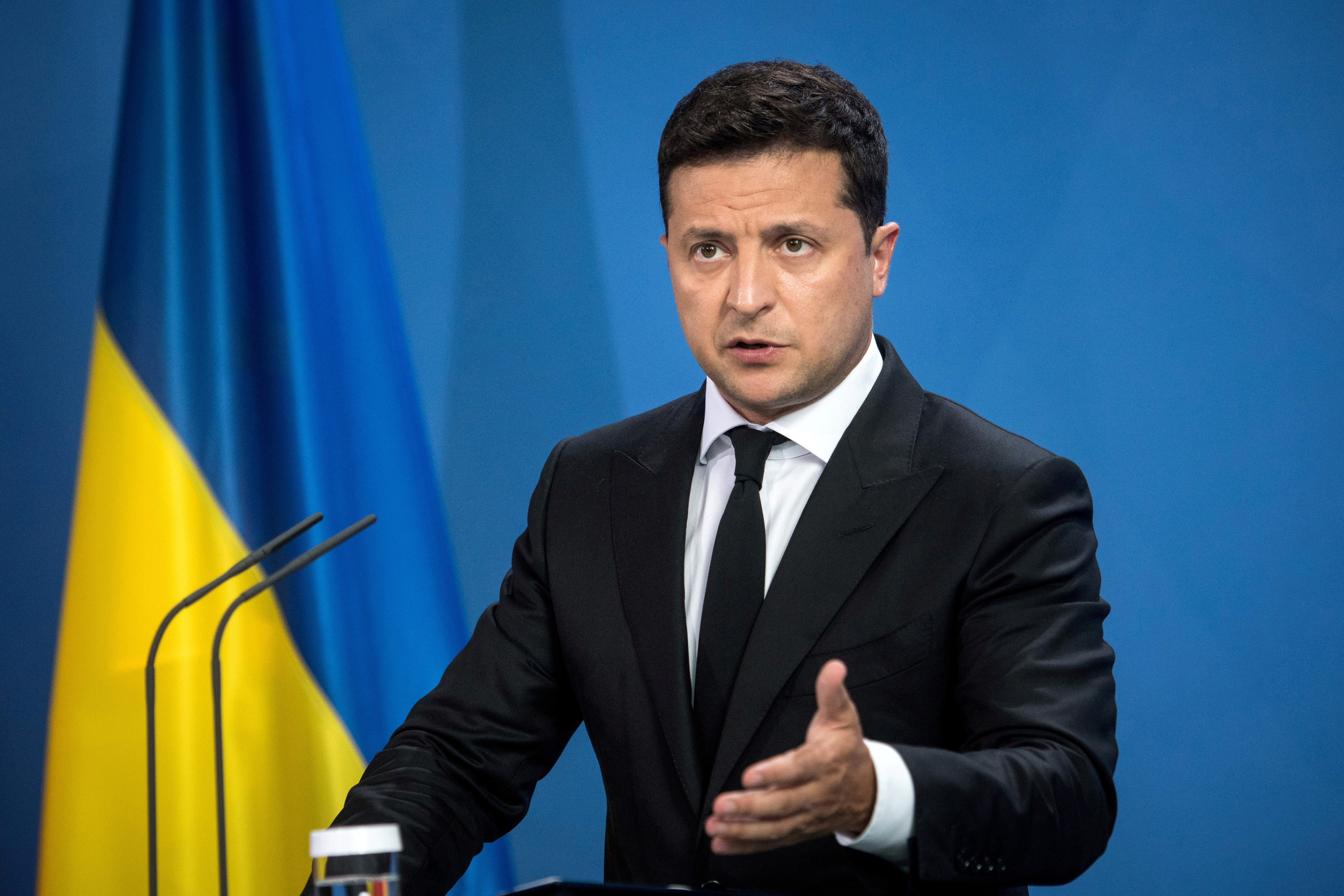 Ukrainian President Volodymyr Zelenskiy gives statements ahead of talks at the Chancellery in Berlin, Germany July 12, 2021. Stefanie Loos/ Pool via REUTERS/File Photo