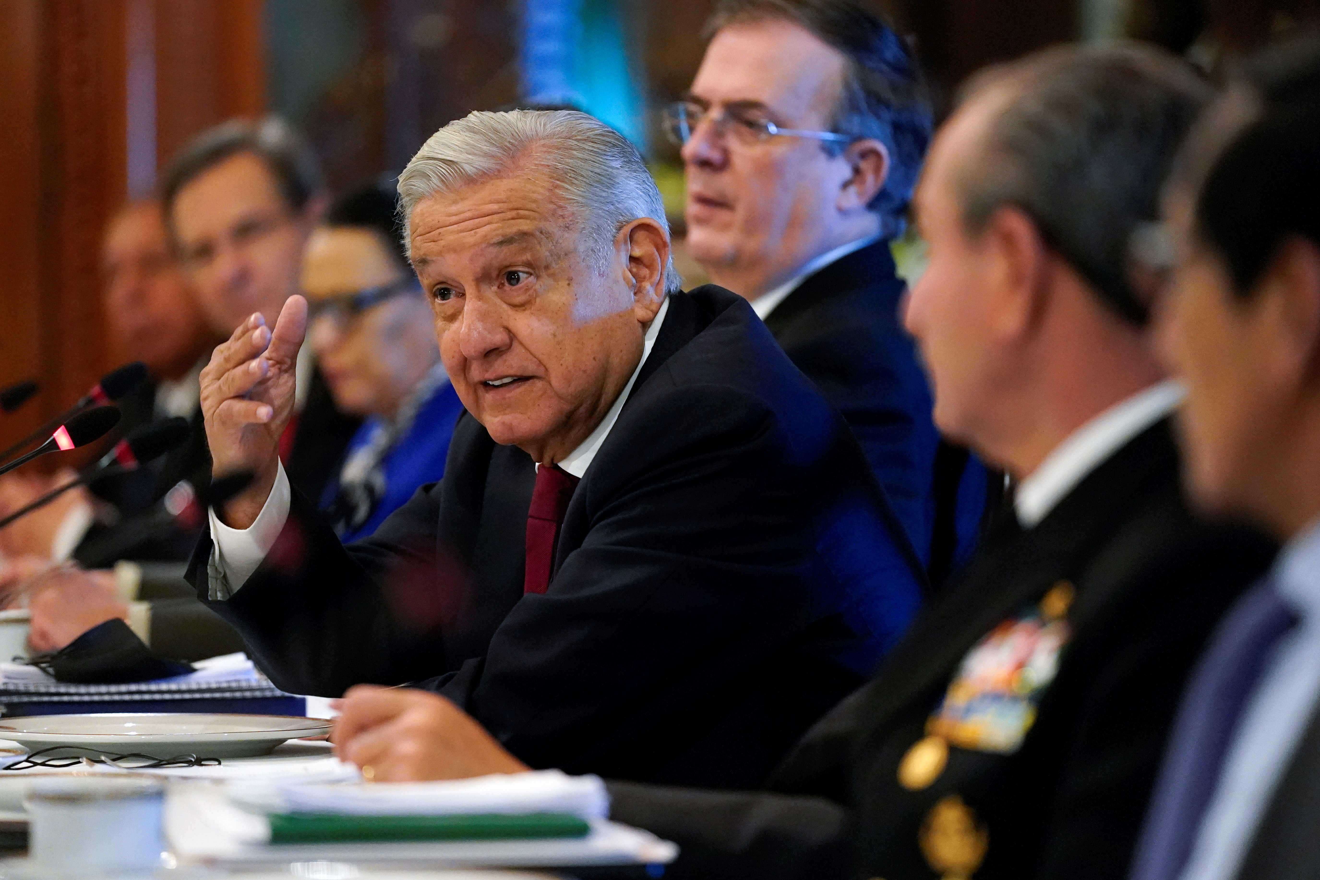 Mexico's President Andres Manuel Lopez Obrador speaks during a working breakfast with U.S. Secretary of State Antony Blinken at the National Palace in Mexico City, Mexico, October 8, 2021. Patrick Semansky/Pool via REUTERS