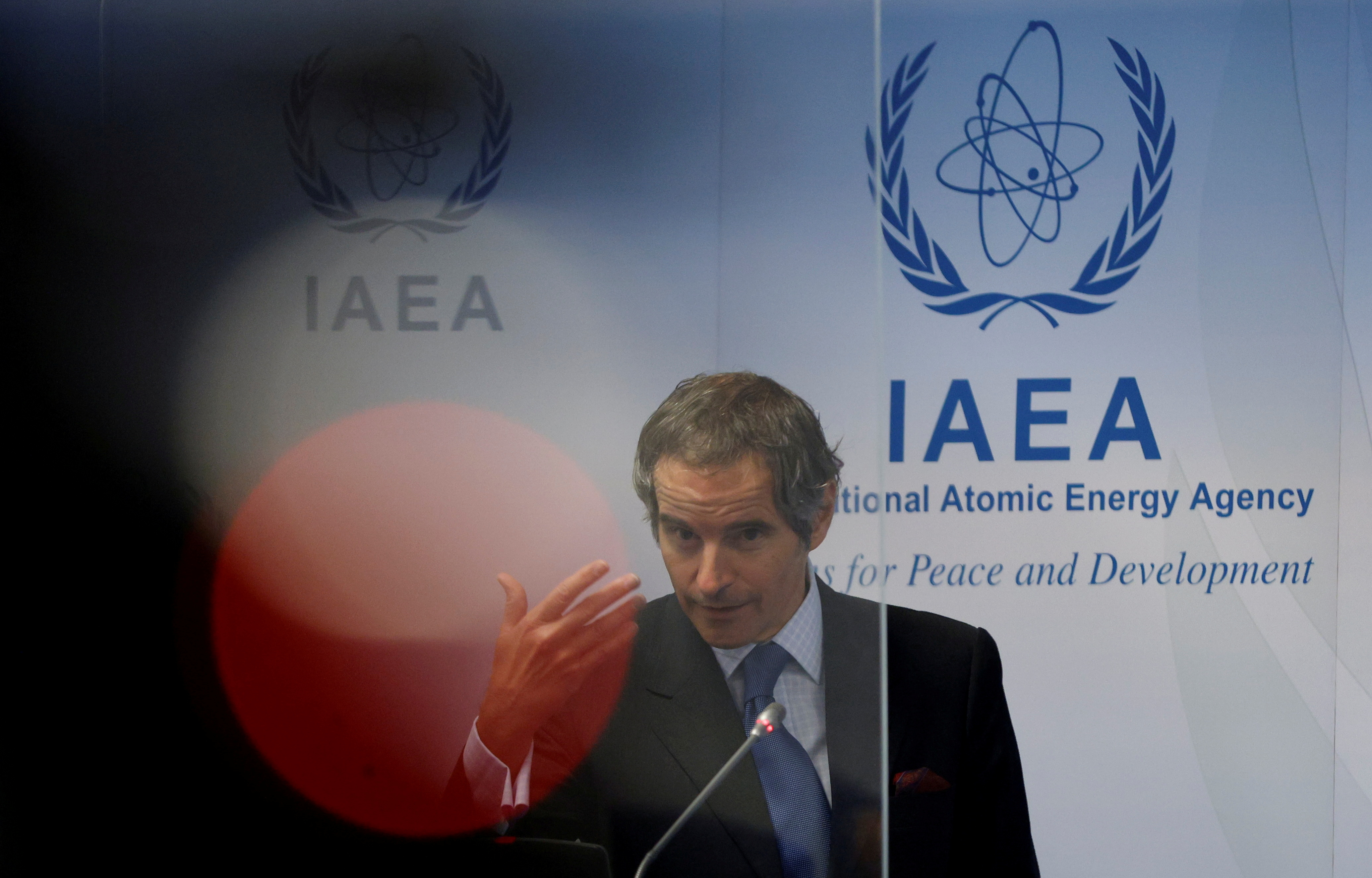 International Atomic Energy Agency (IAEA) Director General Rafael Grossi attends a news conference during a board of governors meeting at the IAEA headquarters in Vienna, Austria, June 7, 2021.   REUTERS/Leonhard Foeger