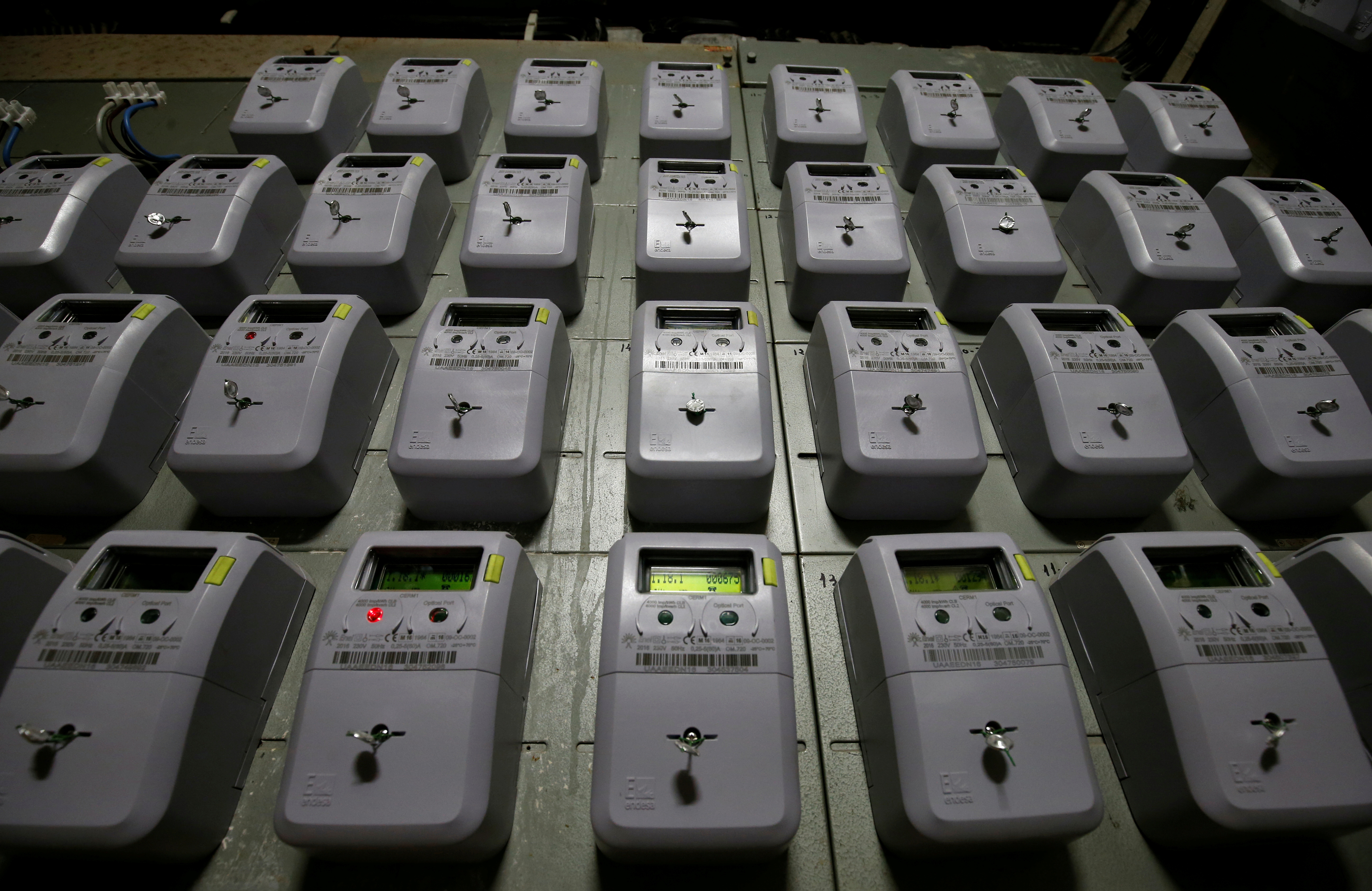 Electric meters of an apartment building are seen in Barcelona, Spain January 20, 2017. REUTERS/Albert Gea