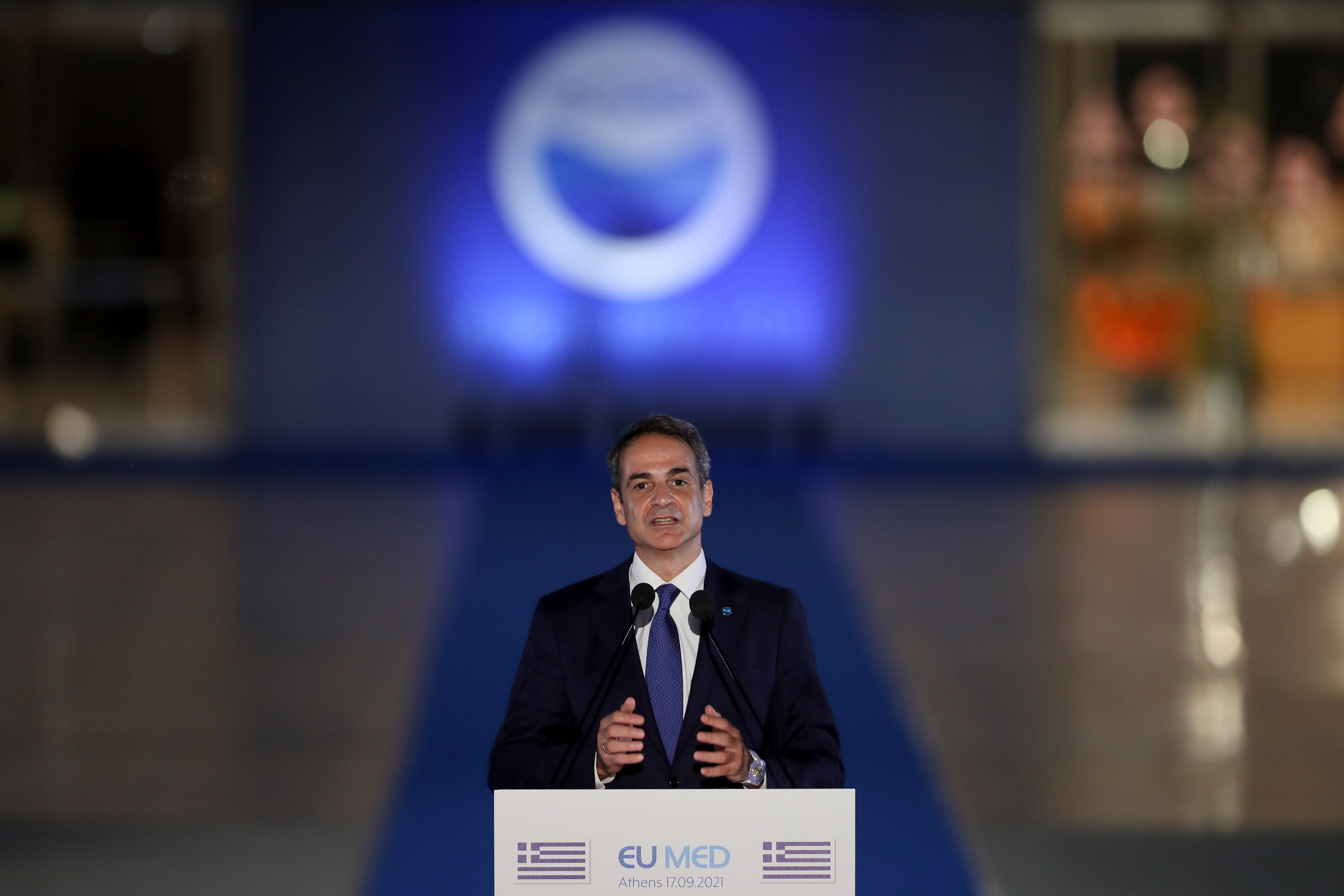 Greek Prime Minister Kyriakos Mitsotakis delivers a statement during the 8th MED7 Mediterranean countries summit, in Athens, Greece, September 17, 2021. REUTERS/Costas Baltas