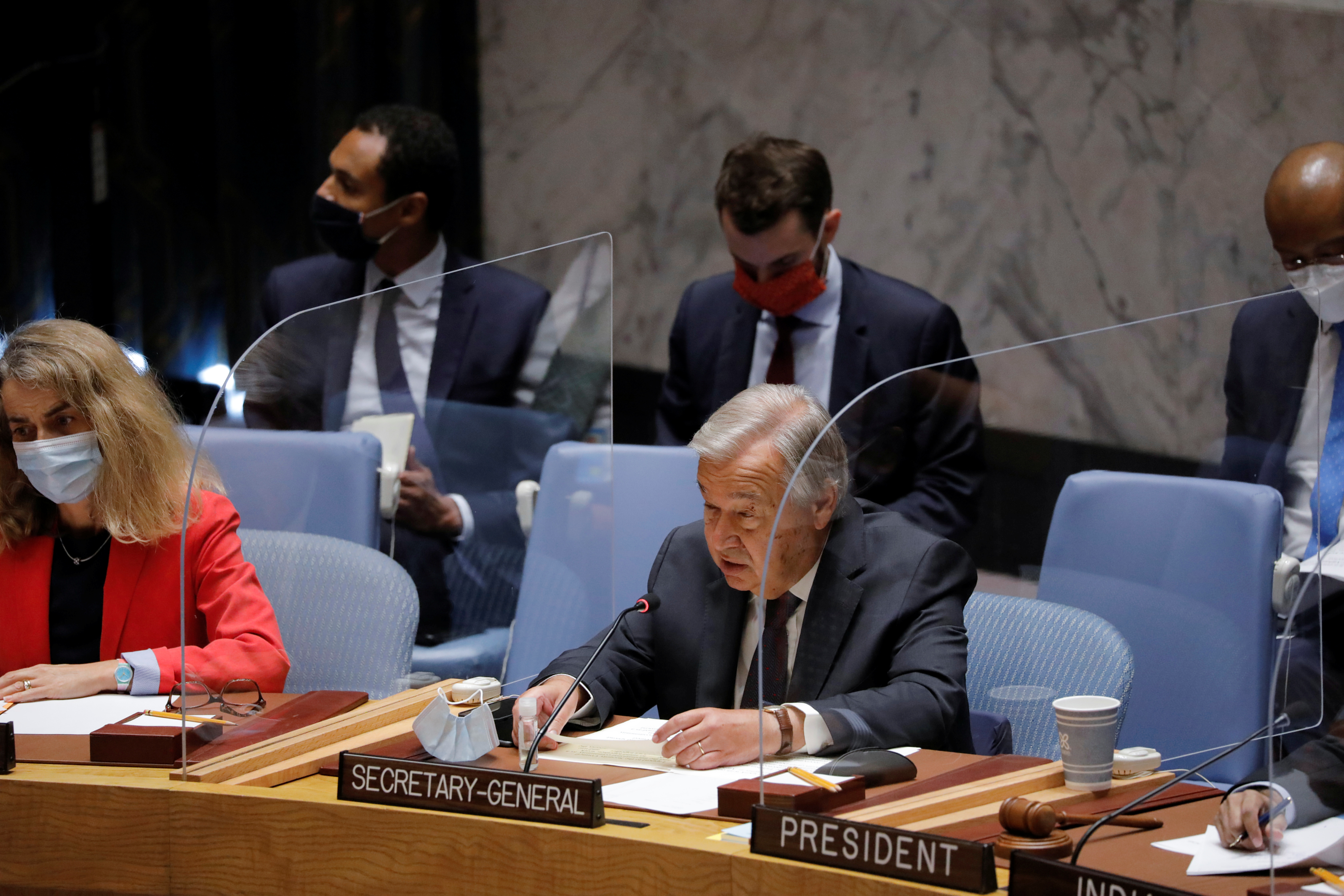 United Nations Secretary-General Antonio Guterres addresses the United Nations Security Council regarding the situation in Afghanistan at the United Nations in New York City, New York, U.S., August 16, 2021. REUTERS/Andrew Kelly