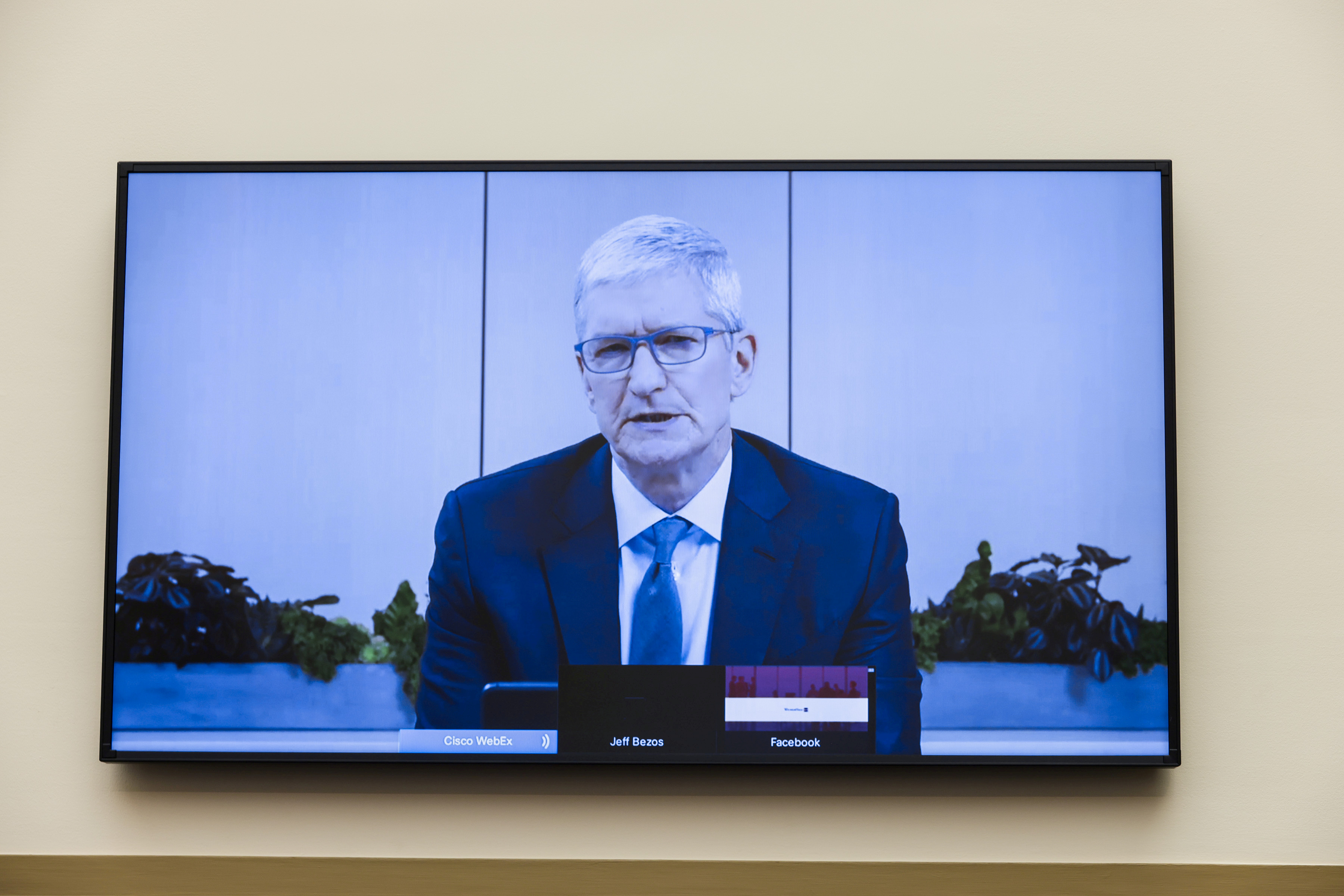 Apple CEO Tim Cook speaks via video conference during a hearing of the House Judiciary Subcommittee on Antitrust, Commercial and Administrative Law on