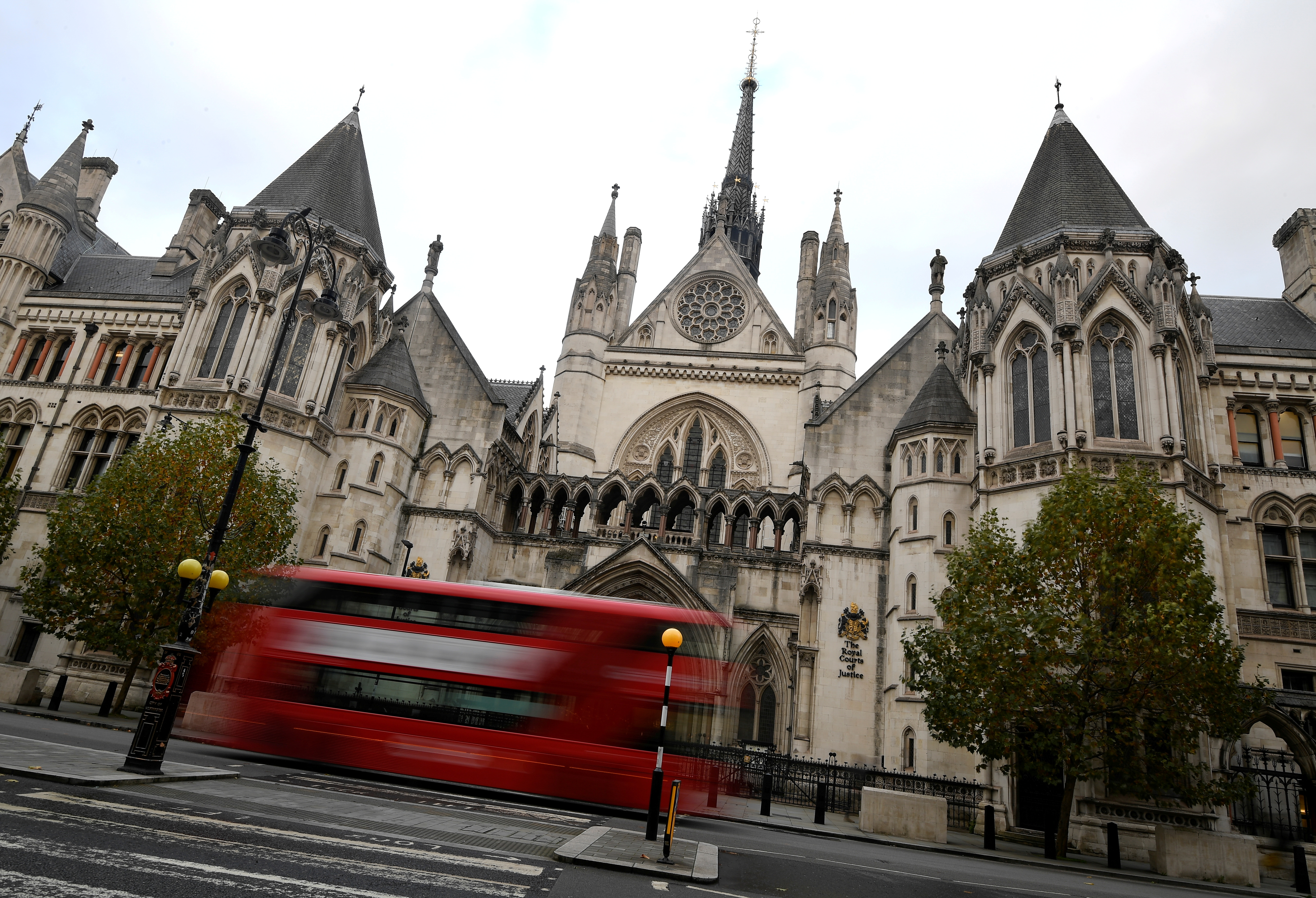 A general view of the Royal Courts of Justice, more commonly known as the High Court, where the libel case of actor Johnny Depp with The Sun newspaper and allegations of Depp's relationship with actor Amber Heard took place, ahead of the verdict being delivered online later today, in London, Britain November 2, 2020. REUTERS/Toby Melville/File Photo