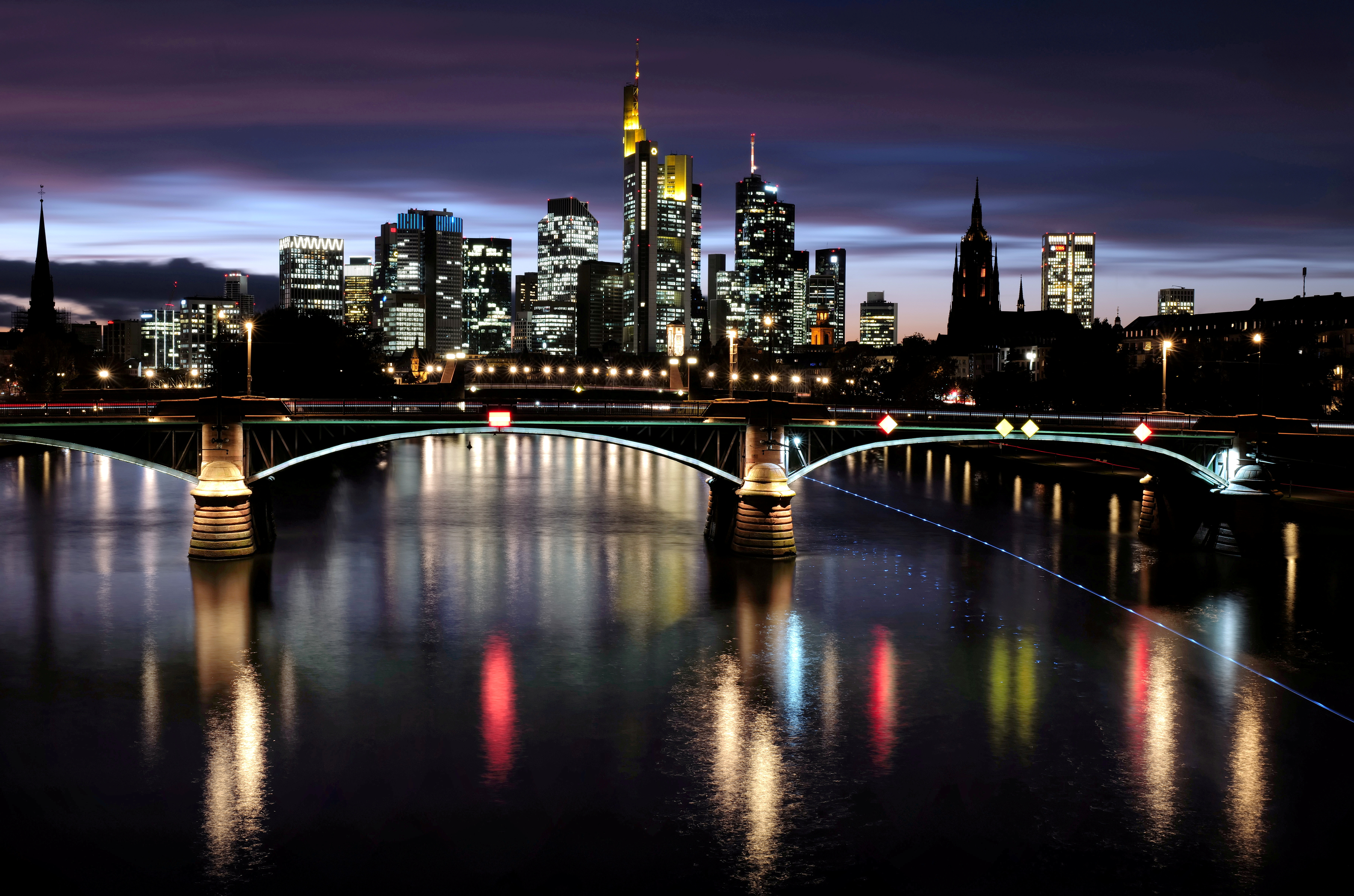 The skyline with its financial district is photographed during sunset as the spread of the coronavirus disease (COVID-19) continues in Frankfurt, Germany, October 26, 2020, REUTERS/Kai Pfaffenbach/File Photo