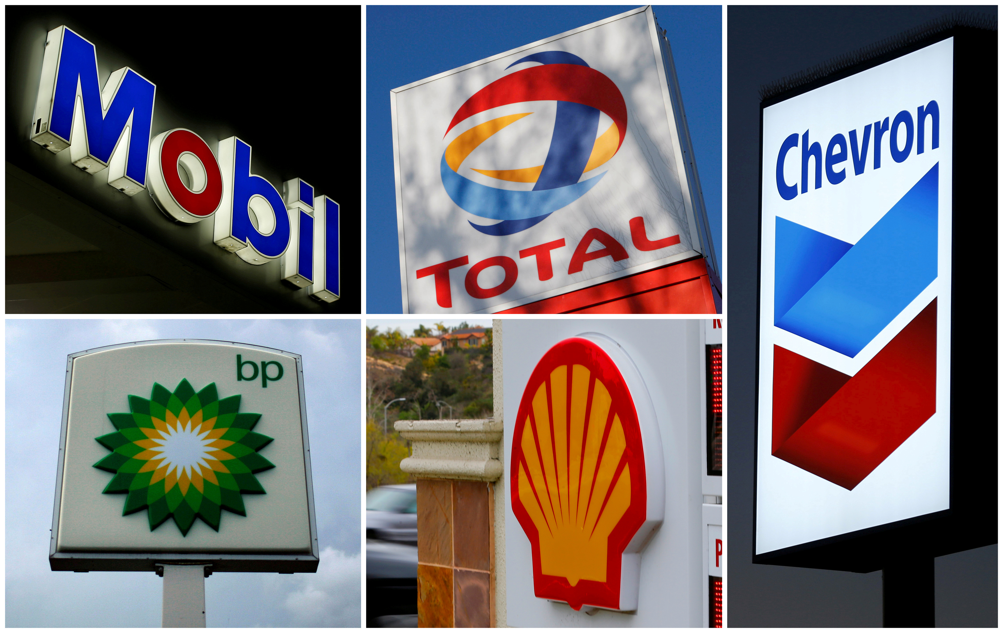 A combination of file photos shows the logos of five of the largest publicly traded oil companies; BP, Chevron, Exxon Mobil, Royal Dutch Shell, and Total.  REUTERS
