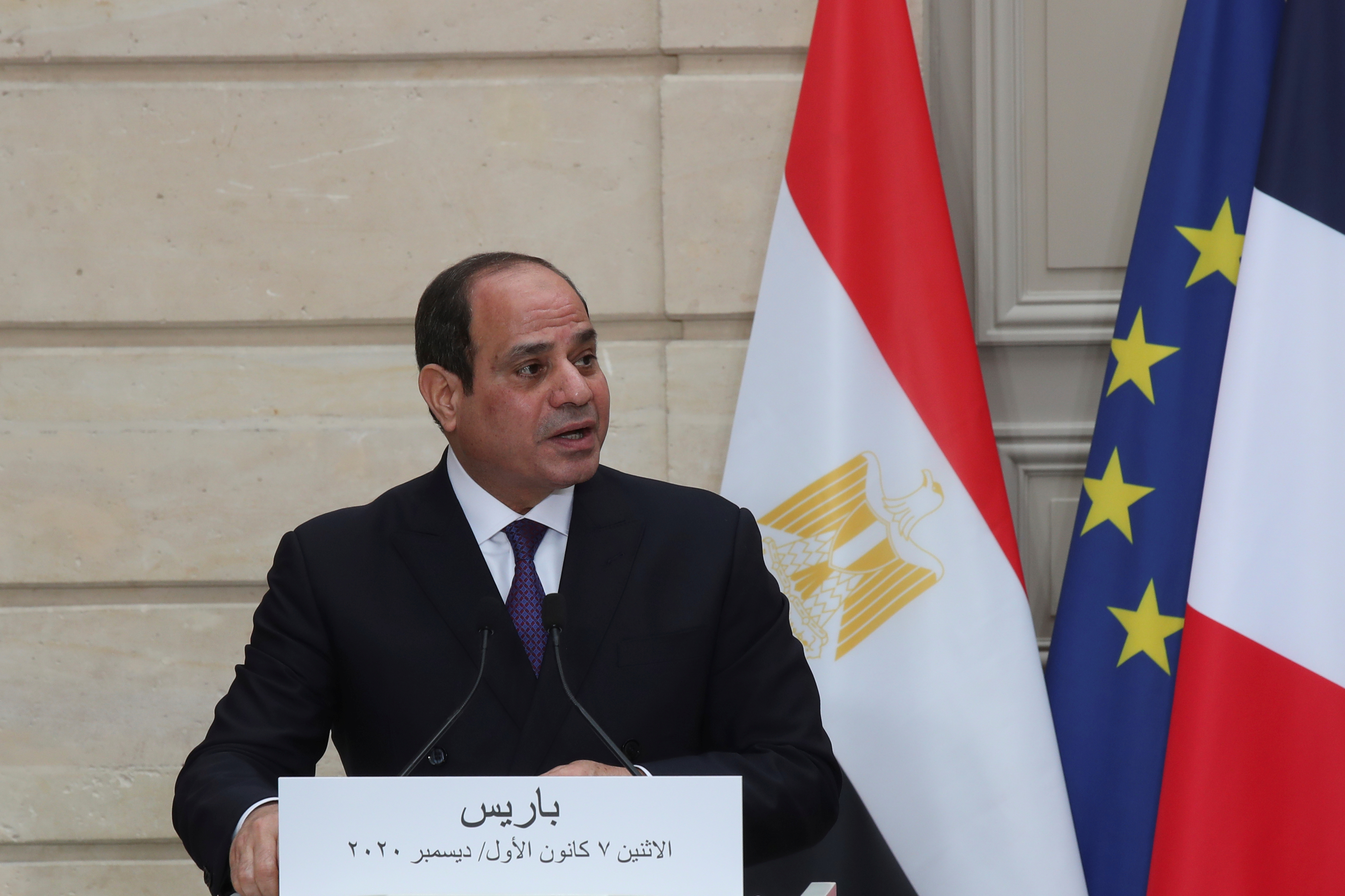 Egyptian President Abdel Fattah al-Sisi speaks during a joint news conference with French President Emmanuel Macron at the Elysee palace, France December 7, 2020.  Michel Euler/Pool via REUTERS