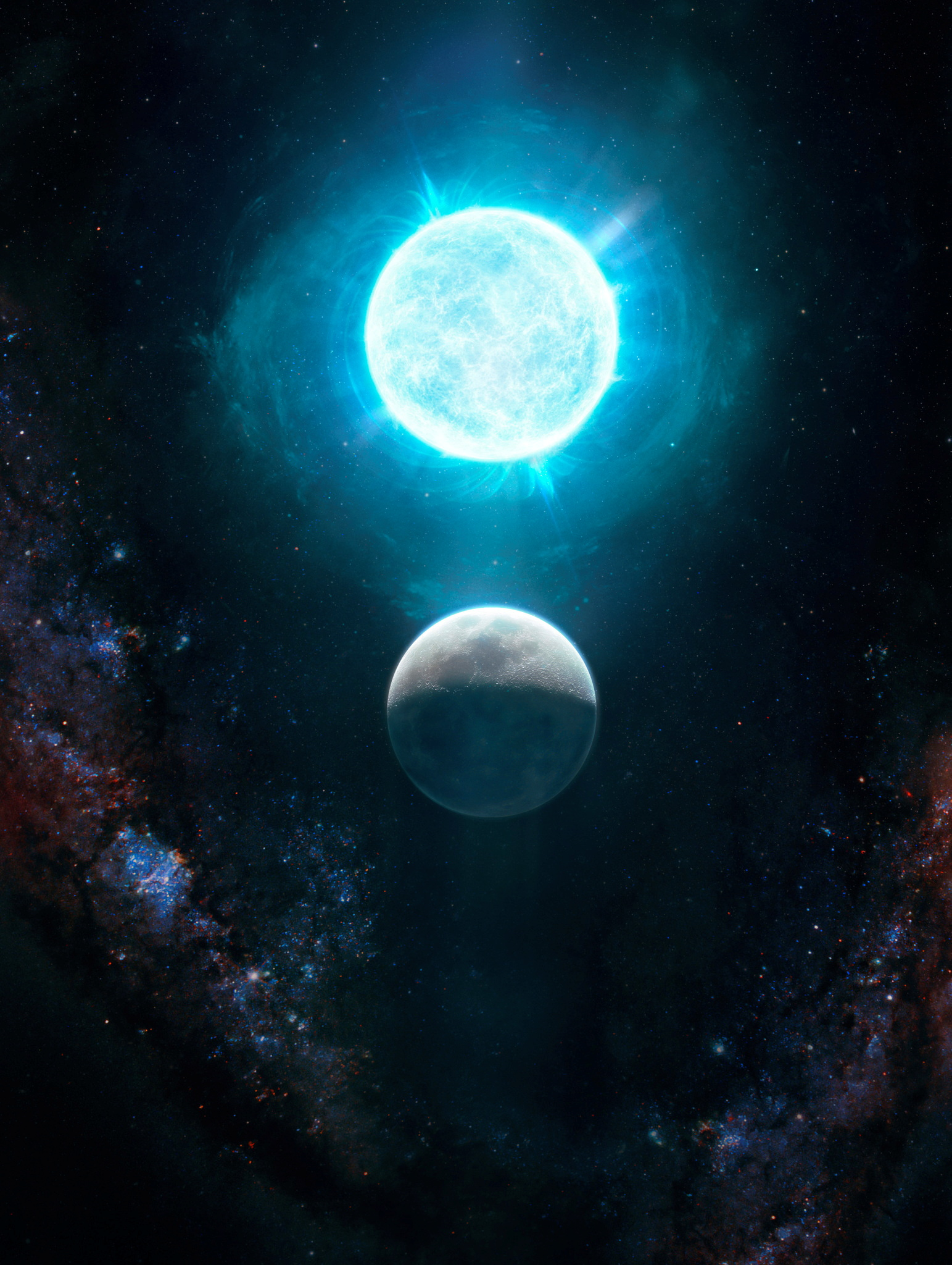 A newfound small white dwarf, called ZTF J1901+1458 and located 130 light-years from Earth, that is slightly larger than the size of the moon in diameter but 1.35 times the mass of our sun, making it both the smallest in size and largest in mass of any known white dwarf is seen in an undated illustration. It was discovered using Caltech's Palomar Observatory. Giuseppe Parisi/Handout via REUTERS