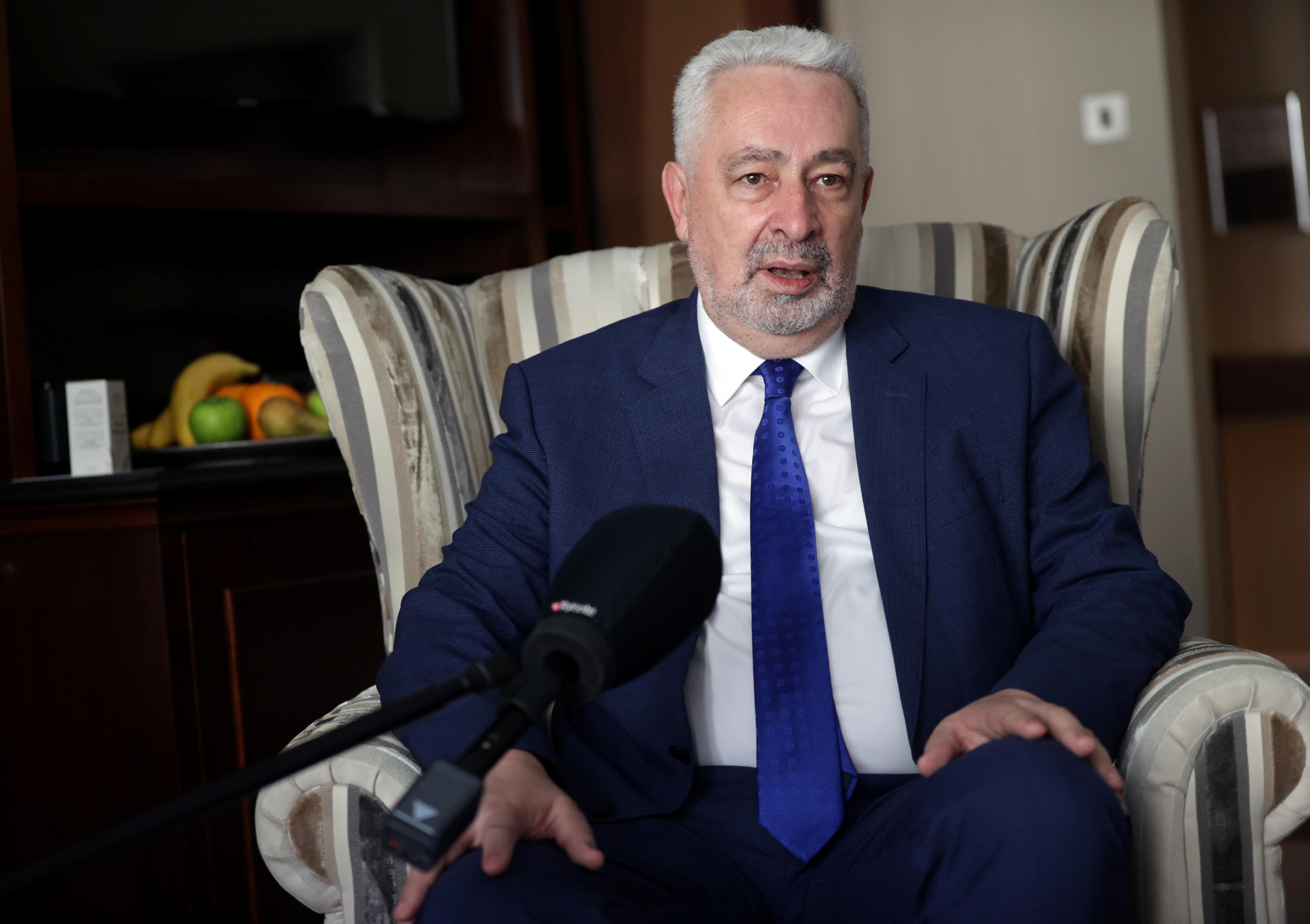 Montenegrin Prime Minister Zdravko Krivokapic speaks during an interview with Reuters in London, Britain, July 6, 2021. REUTERS/Hannah McKay