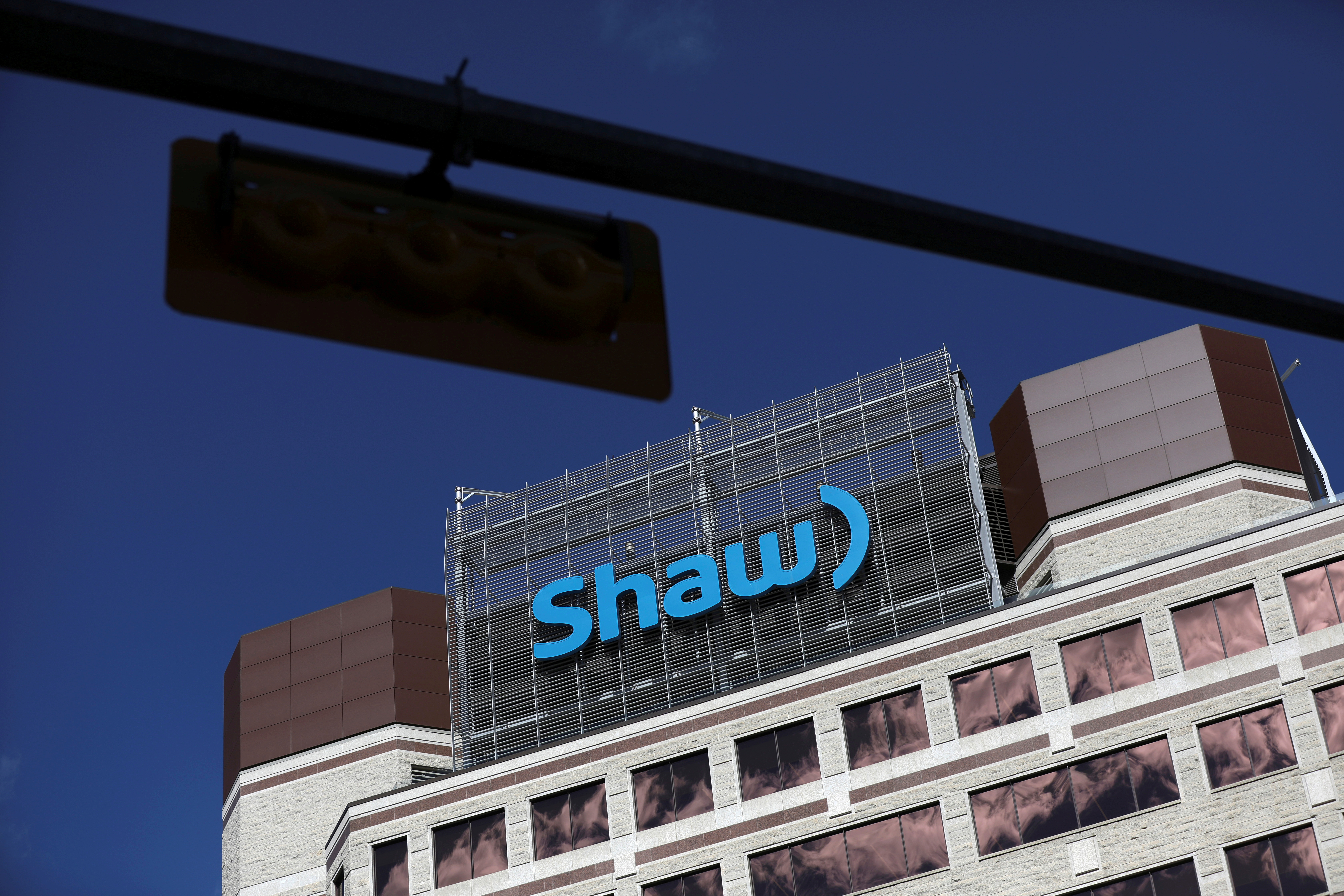 The Shaw Communications logo is seen at their office in Calgary, Alberta, Canada, April 17, 2019. REUTERS/Chris Wattie/File Photo