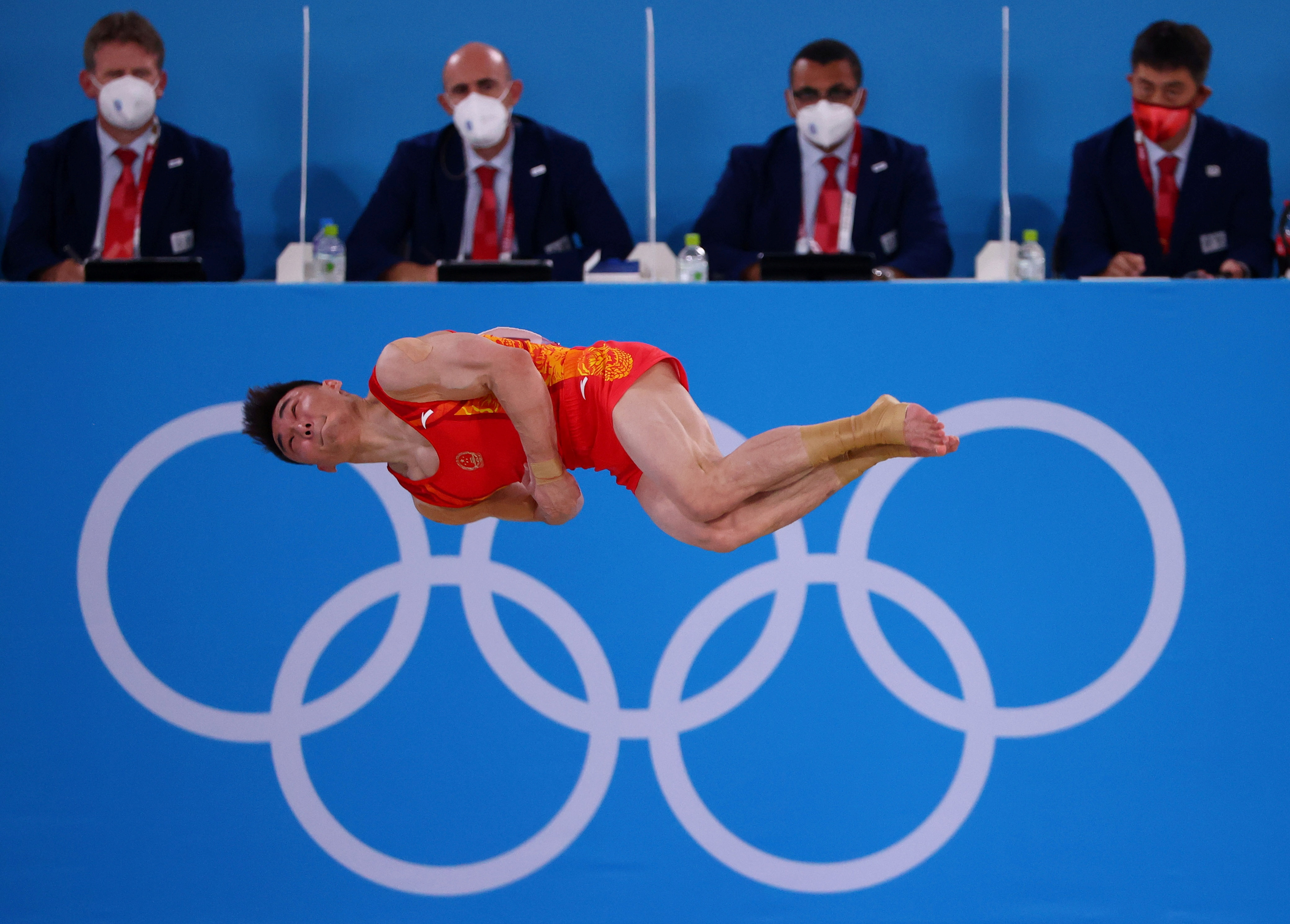 Tokyo 2020 Olympics - Gymnastics - Artistic - Men's Team - Final - Ariake Gymnastics Centre, Tokyo, Japan - July 26, 2021.  Sun Wei of China in action during the floor exercise. REUTERS/Lindsey Wasson