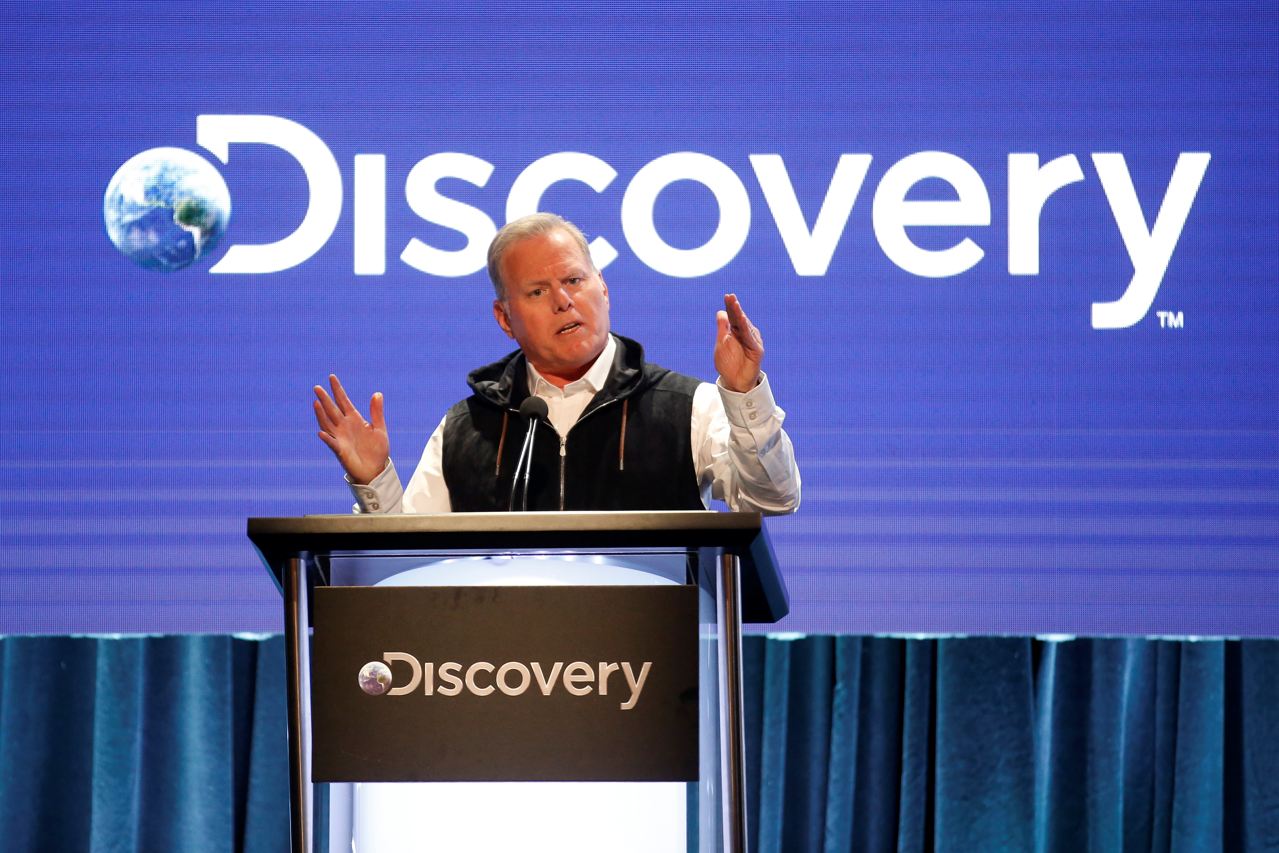 President and CEO of Discovery David Zaslav speaks during the Discovery portion of the Television Critics Association (TCA) Summer Press Tour in Beverly Hills, California, U.S., July 25, 2019. REUTERS/Danny Moloshok