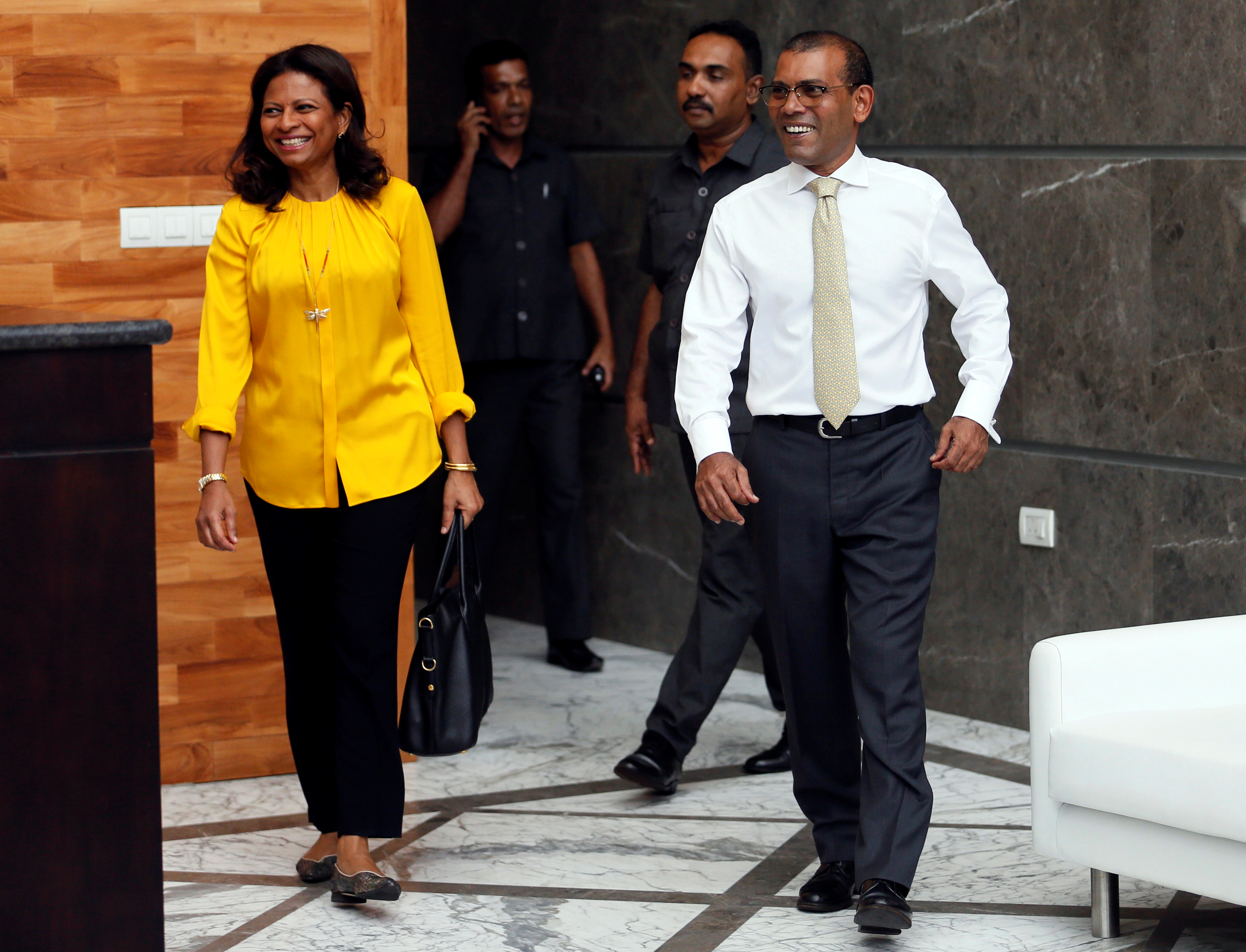 Maldives former President Mohamed Nasheed and his wife Laila Ali Abdulla, leave a private apartment in Sri Lanka to return in their country, after living in exile between London and Colombo for over two and a half years, Colombo, Sri Lanka November 1, 2018. REUTERS/Dinuka Liyanawatte