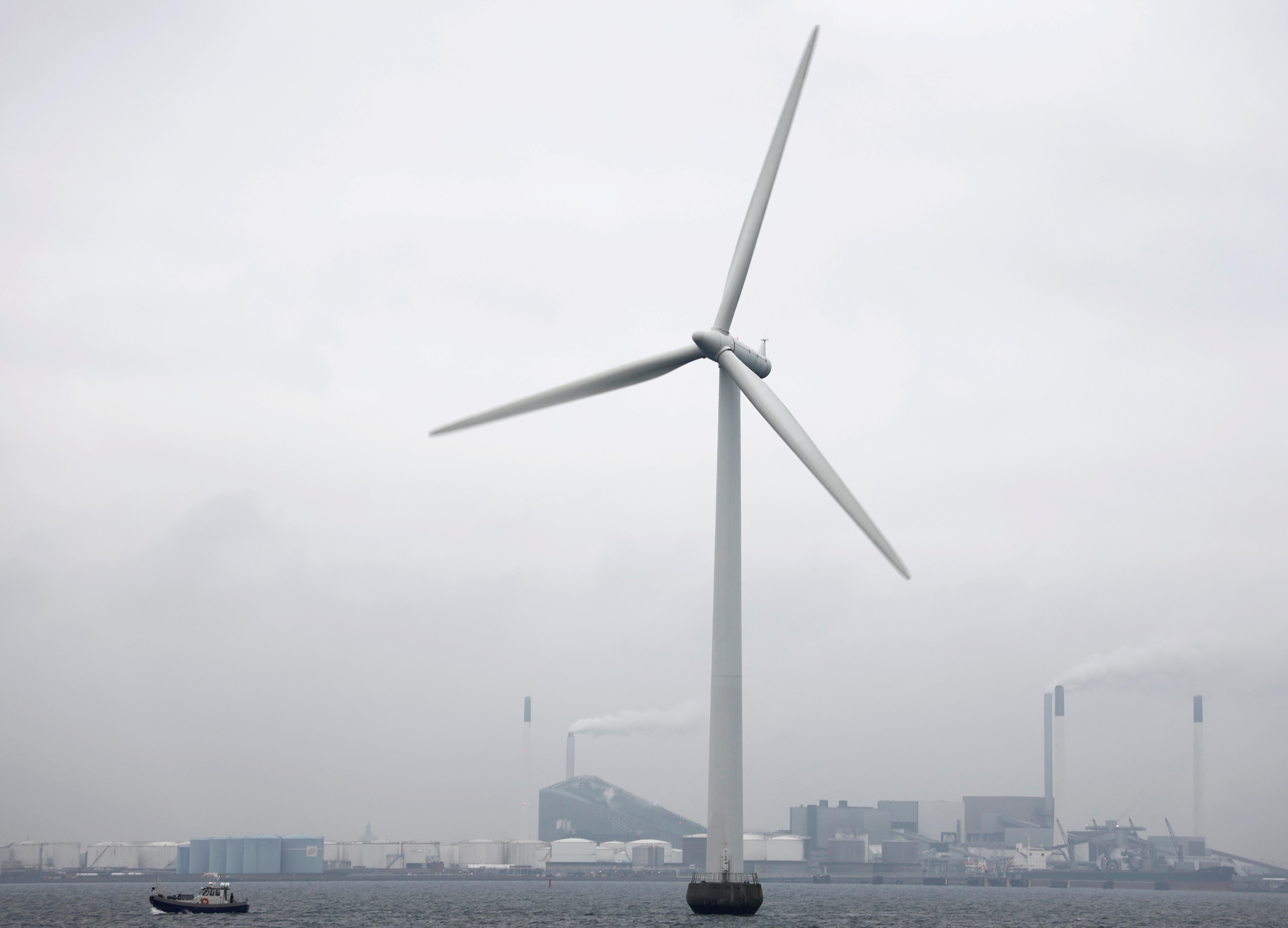Middelgrunden offshore wind farm is pictured outside Copenhagen, Denmark November 27, 2019. Picture taken November 27, 2019. REUTERS/Andreas Mortensen/File Photo